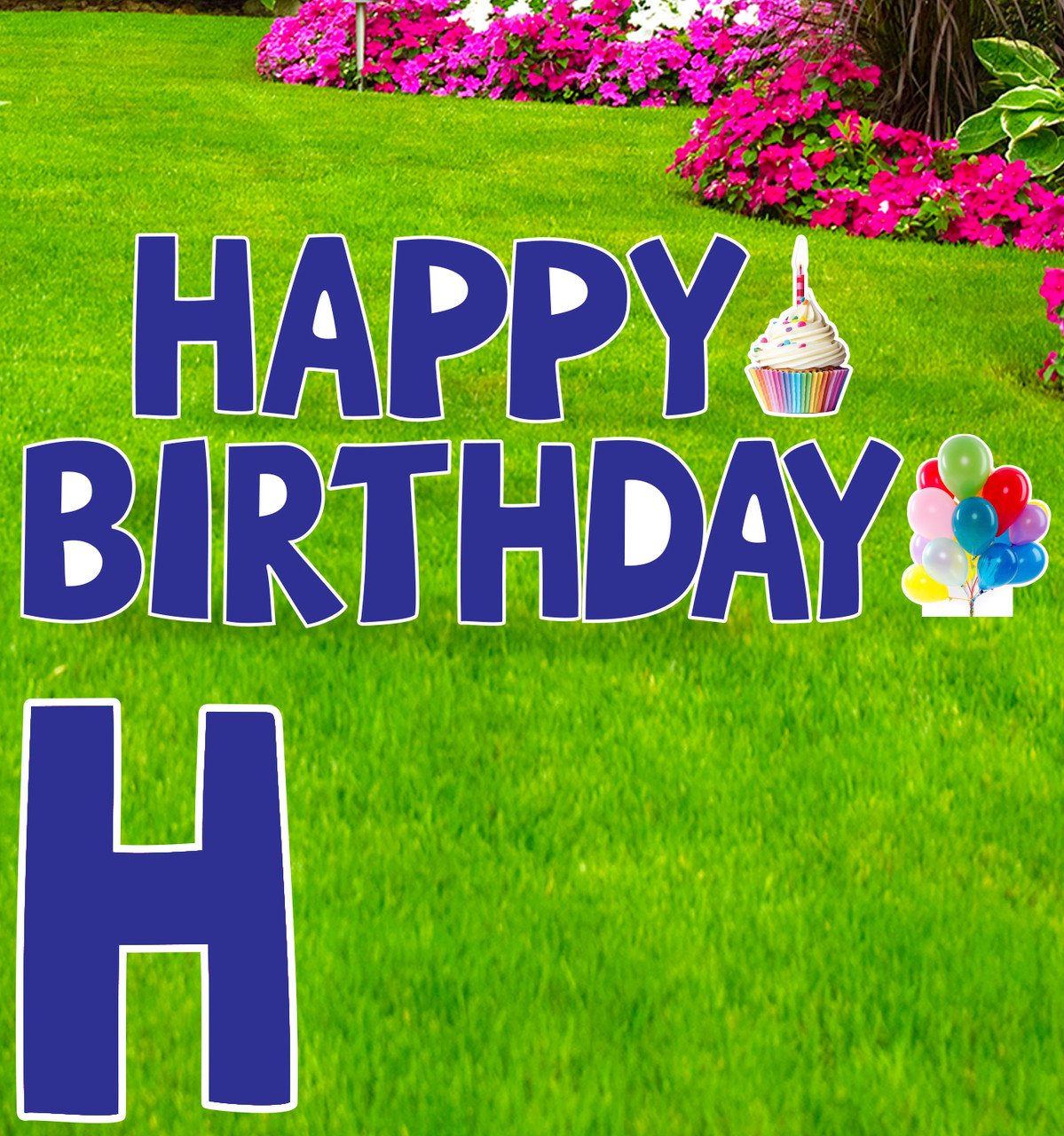 Coroplast blue Happy Birthday yard signs with background.