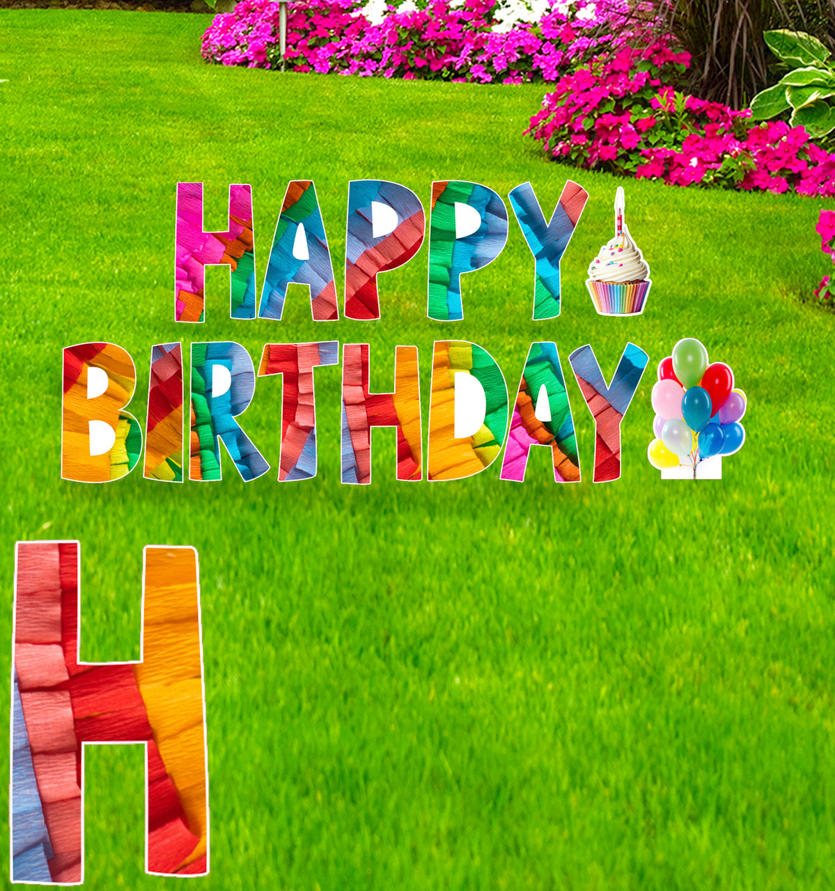 Coroplast Crate Paper Happy Birthday yard signs with background.