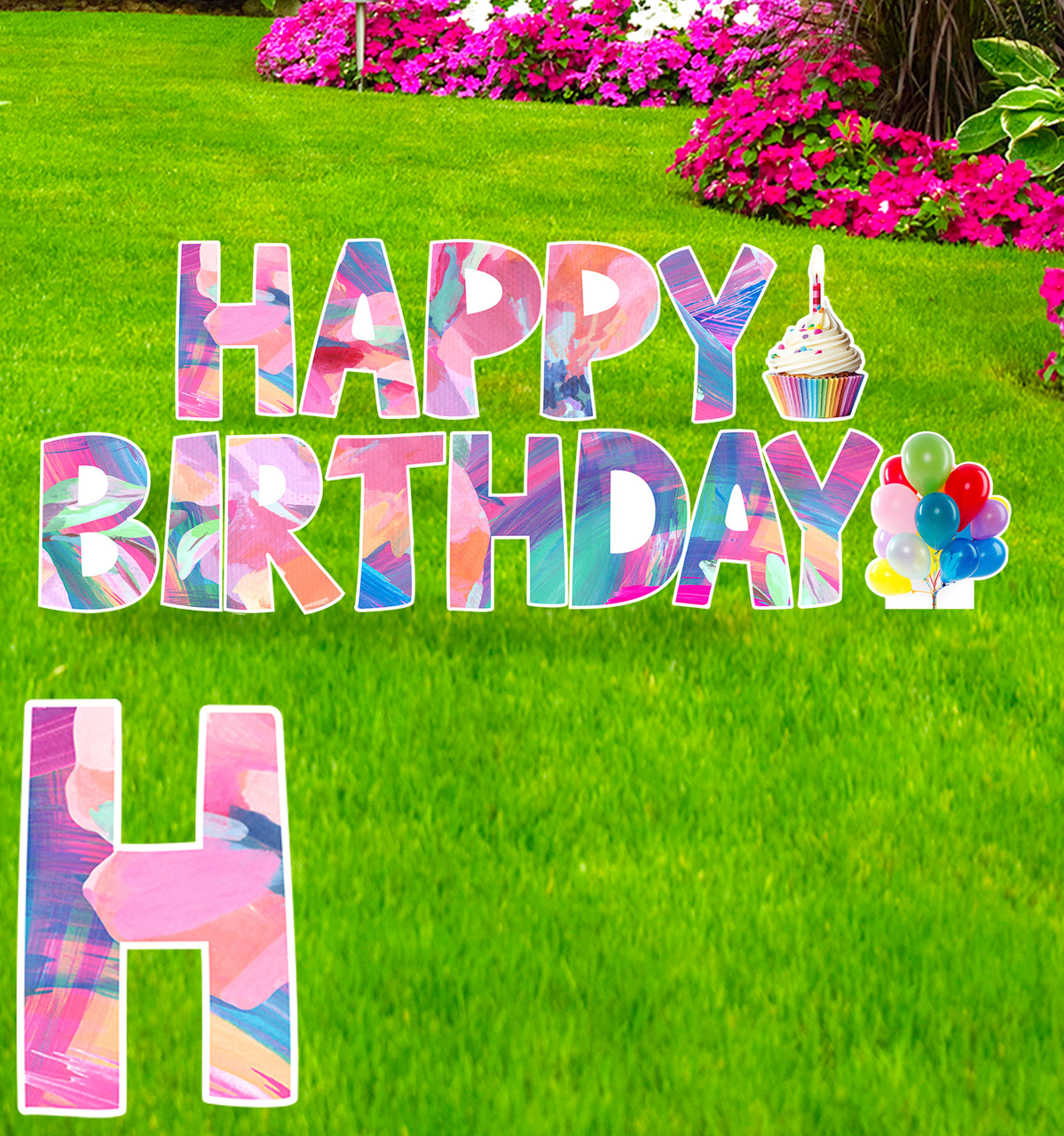 Coroplast flower Paper Happy Birthday yard signs with background.