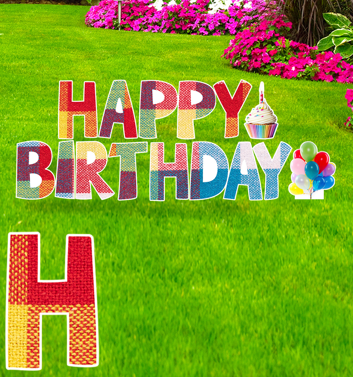 Coroplast plaid Paper Happy Birthday yard signs with background.