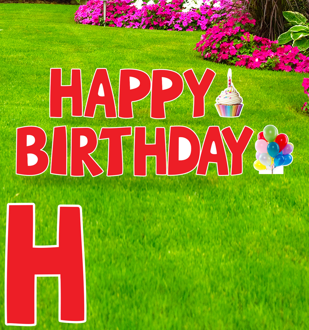 Coroplast red Paper Happy Birthday yard signs with background.