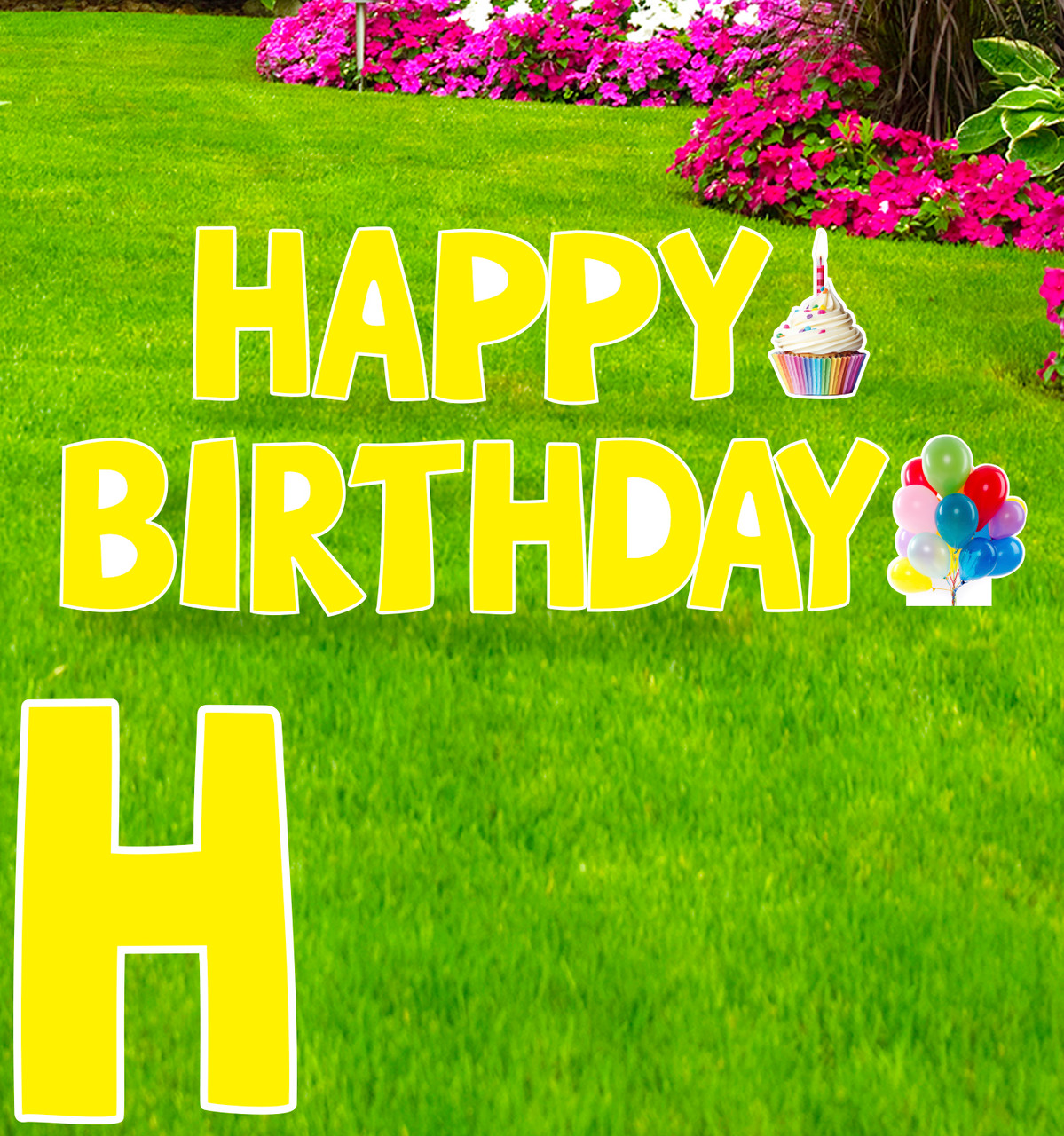Coroplast Yellow Paper Happy Birthday yard signs with background.