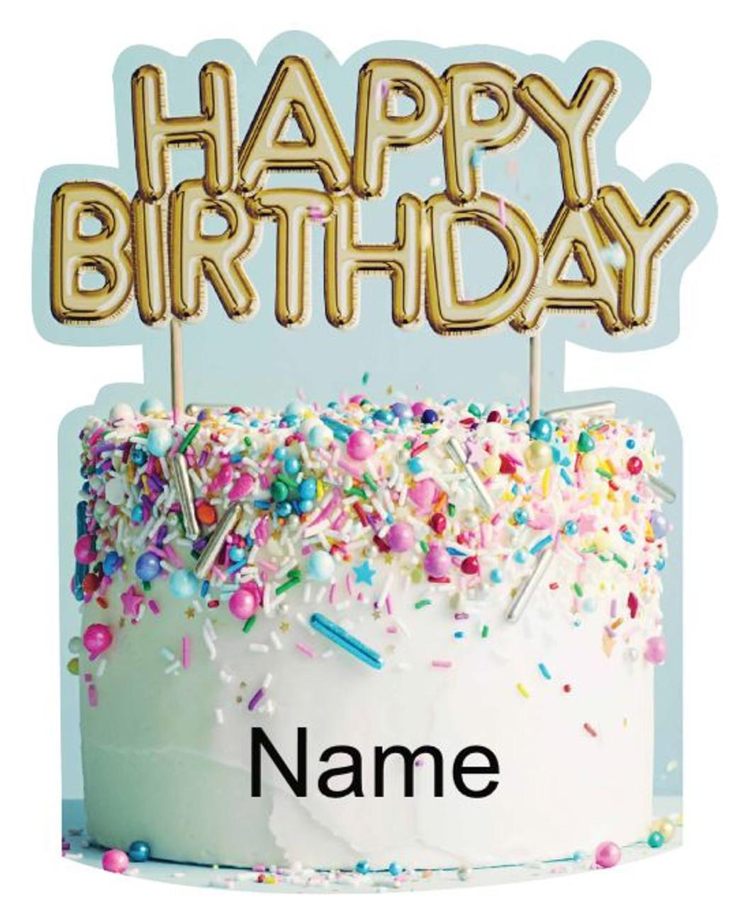 Add Your Name - Happy Birthday Cake Yard Sign