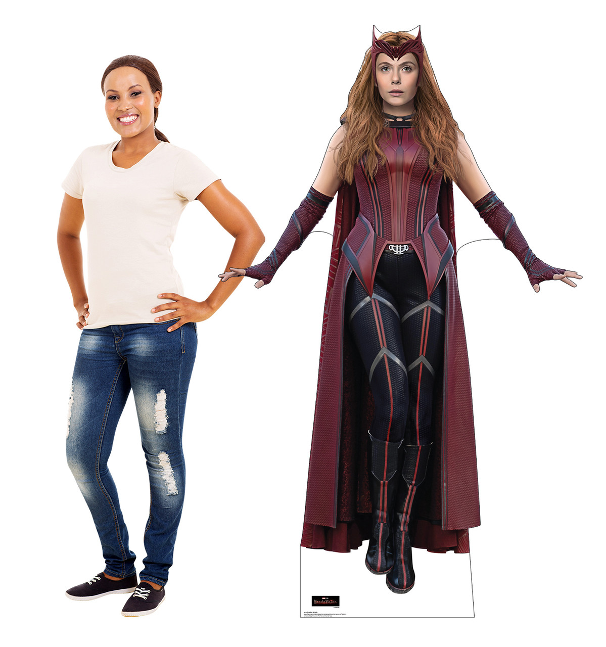 Life-size cardboard standee of the Scarlet Witch from the new Disney + series WandaVision with model.