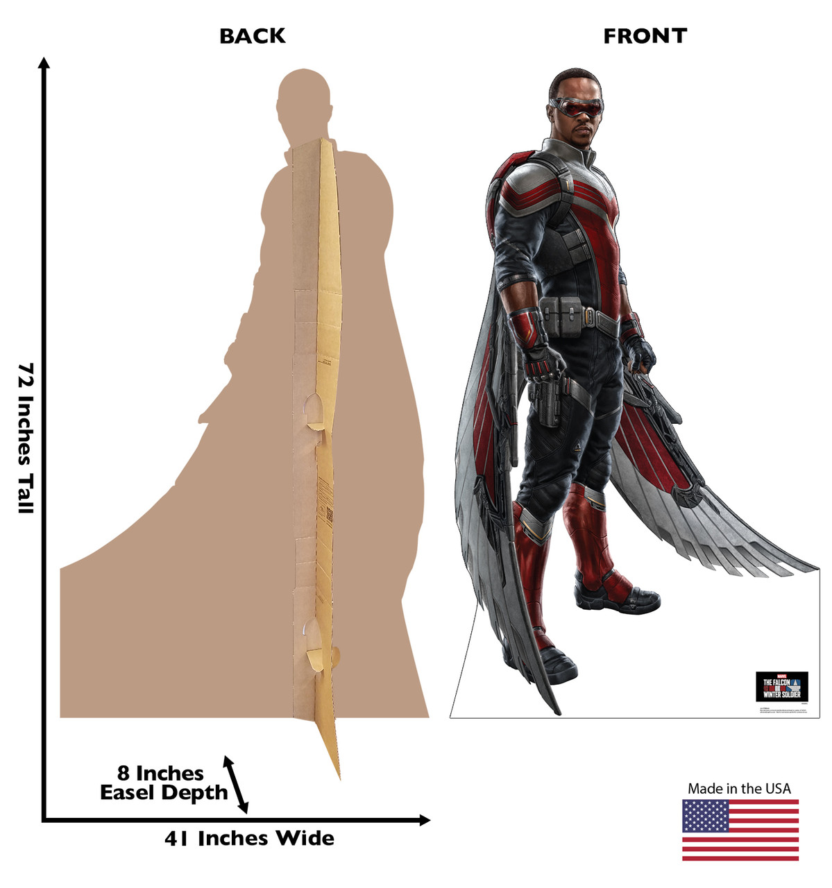 Life-size cardboard standee of Falcon with front and back dimensions.