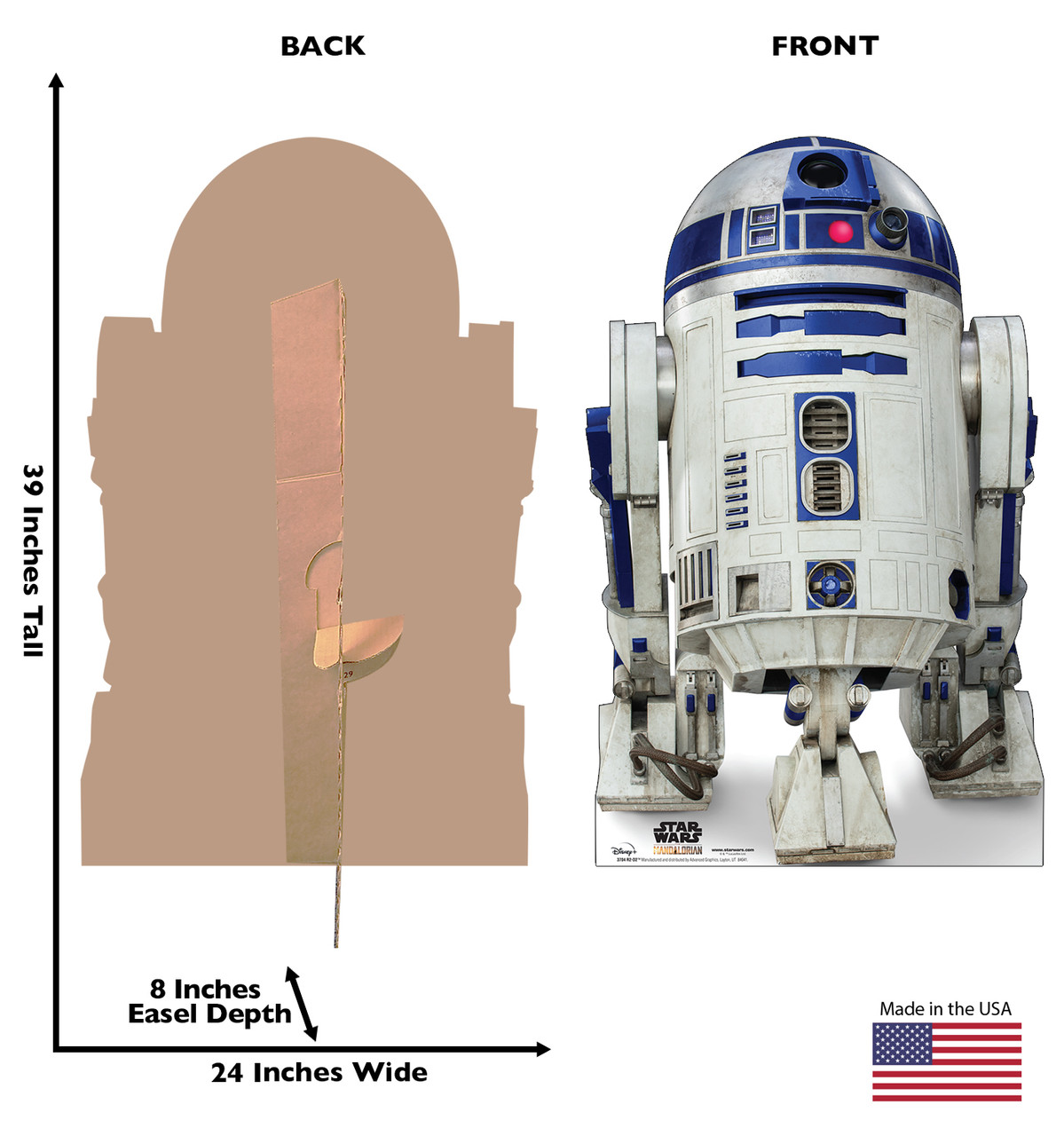 Life-size cardboard standee of R2-D2 from the Mandalorian season 2 with back and front dimensions.