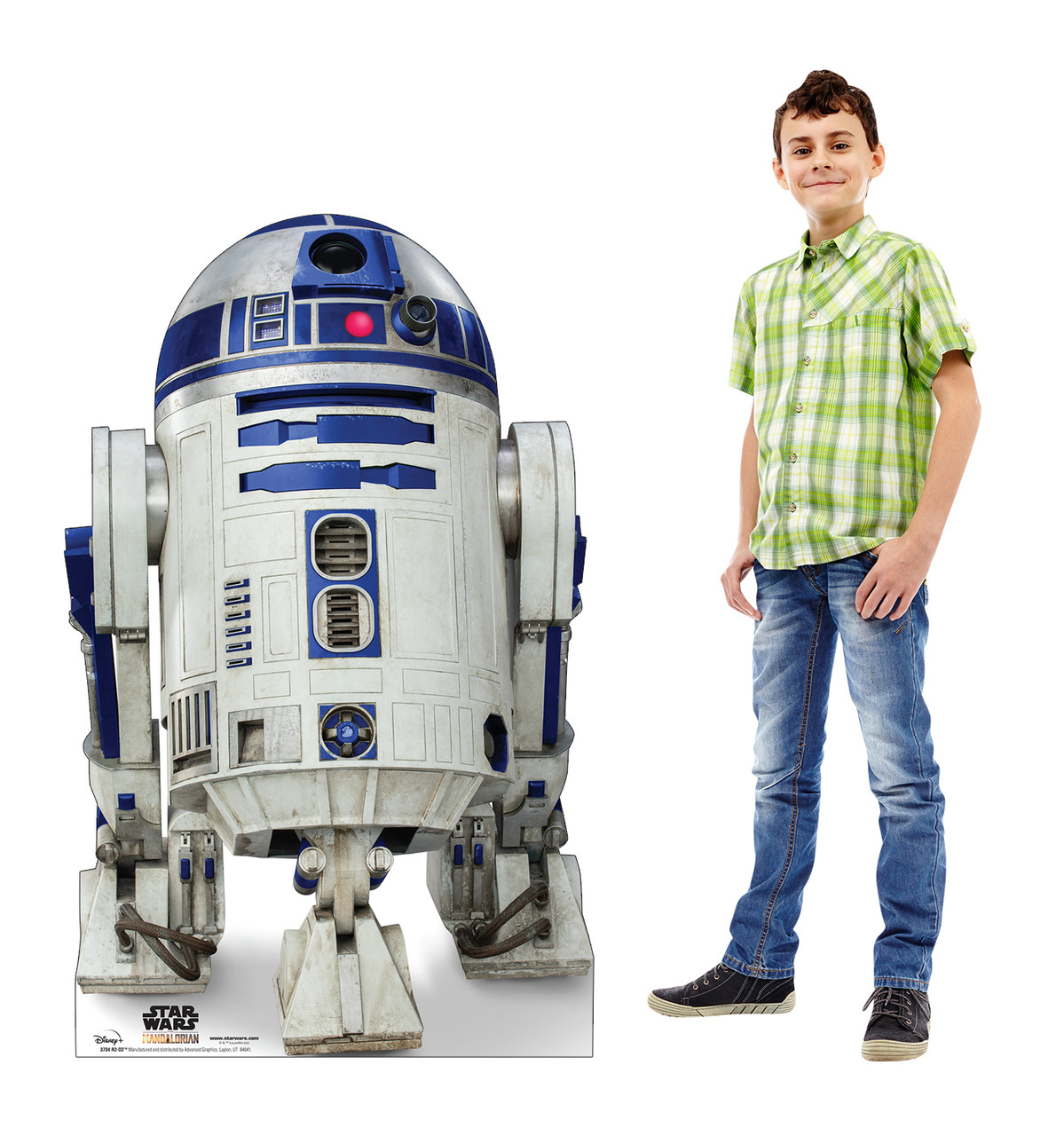 Life-size cardboard standee of R2-D2 from the Mandalorian season 2 with model.