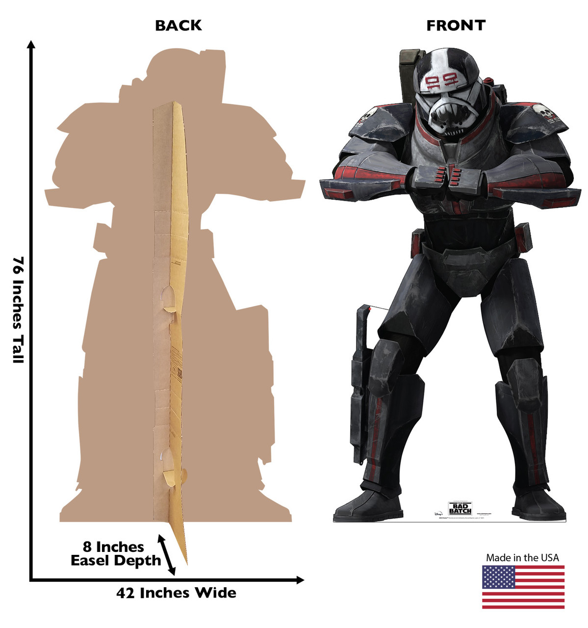 Life-size cardboard standee of Wrecker from The Bad Batch on Disney+ with front and back dimensions.