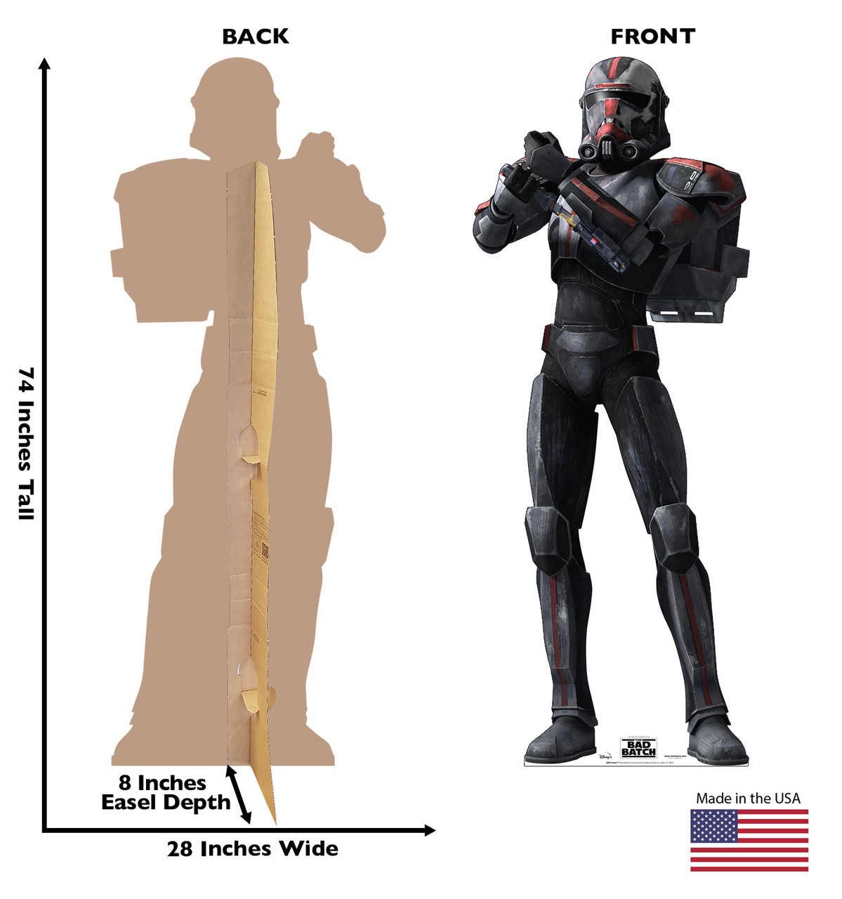 Life-size cardboard standee of Hunter from The Bad Batch on Disney+ with front and back dimensions.