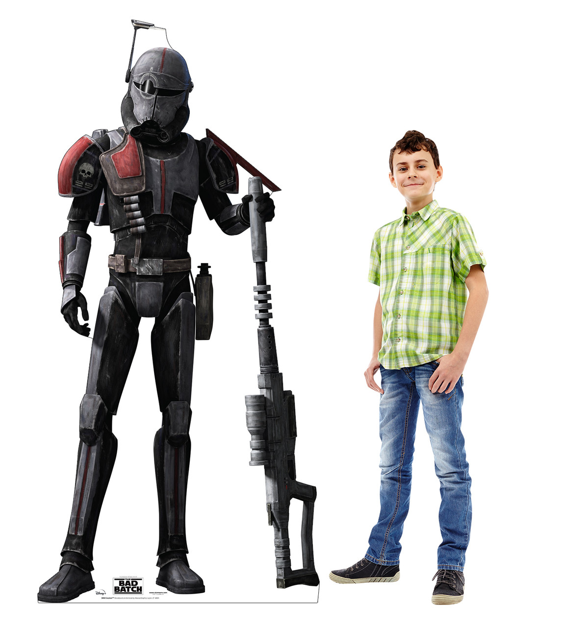 Life-size cardboard standee of Crosshair from The Bad Batch on Disney+ with model.