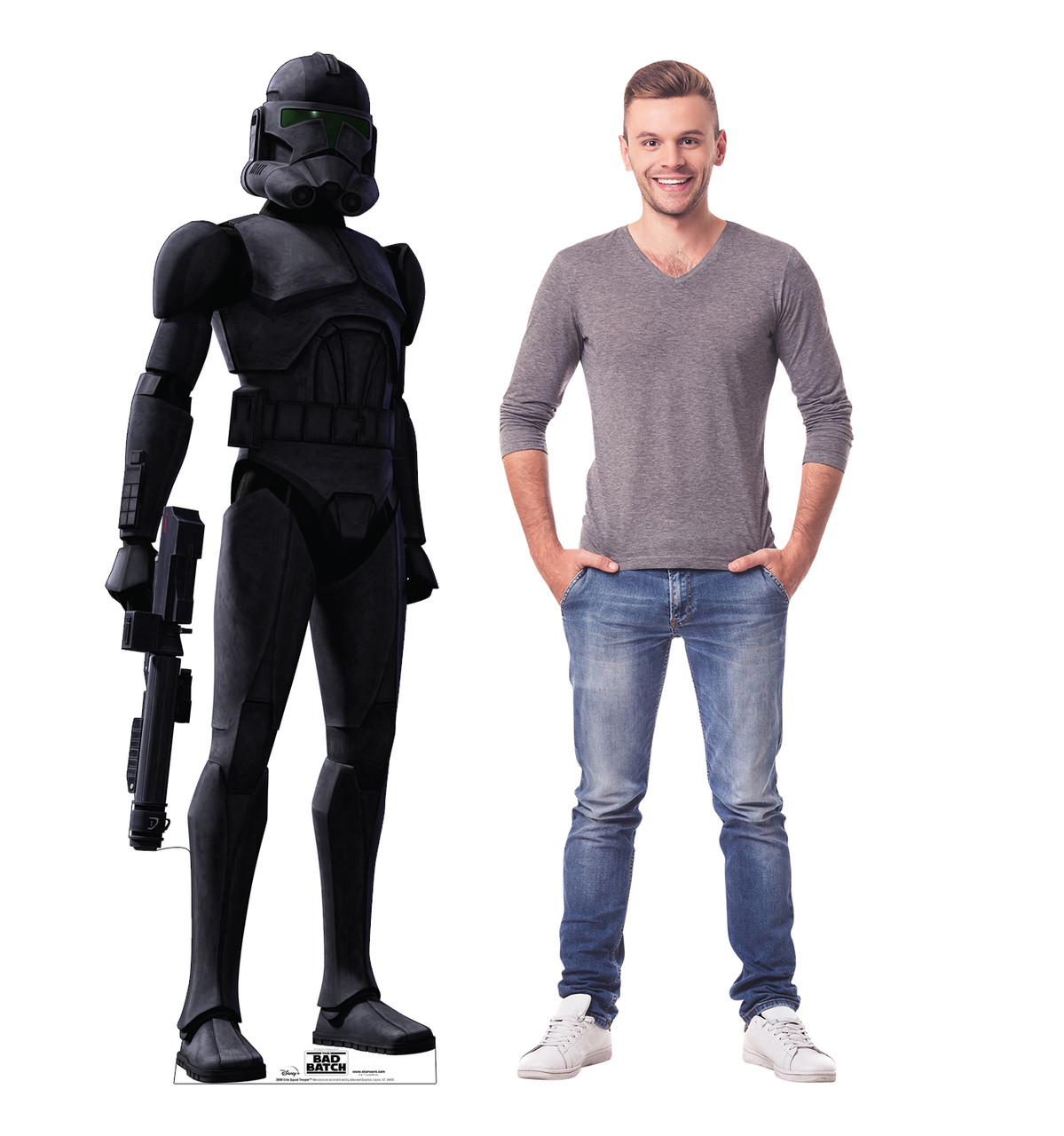 Life-size cardboard standee of Elite Squad Trooper from The Bad Batch on Disney+ with model.