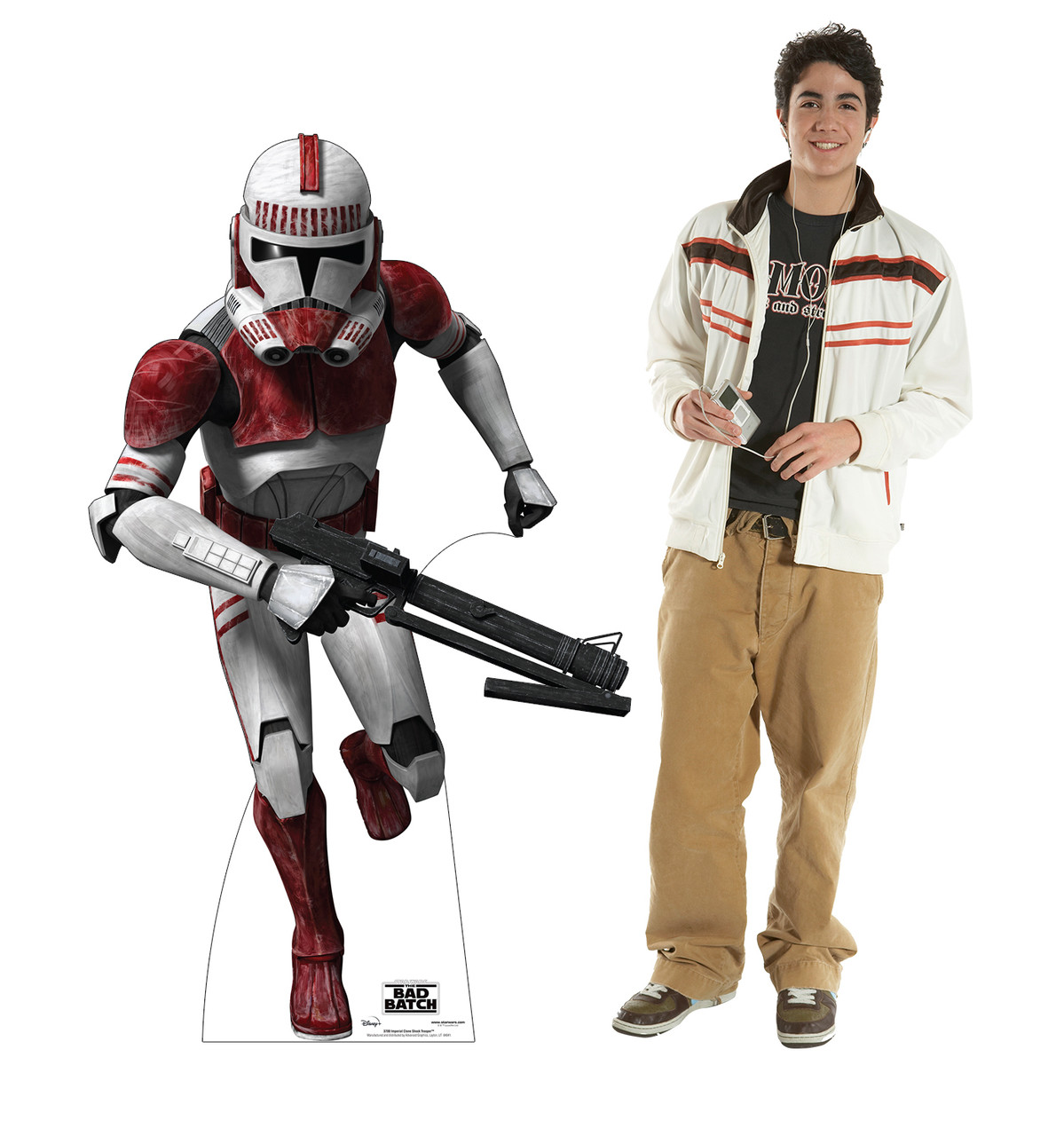 Life-size cardboard standee of Imperial Clone Shock Trooper  from The Bad Batch on Disney+ with model.