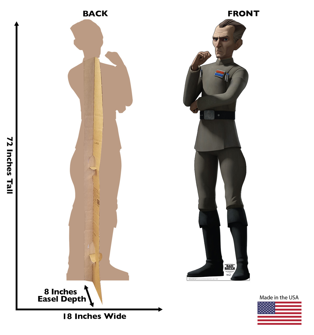 Life-size cardboard standee of Grand Moff Tarkin from The Bad Batch on Disney+ with front and back dimensions.