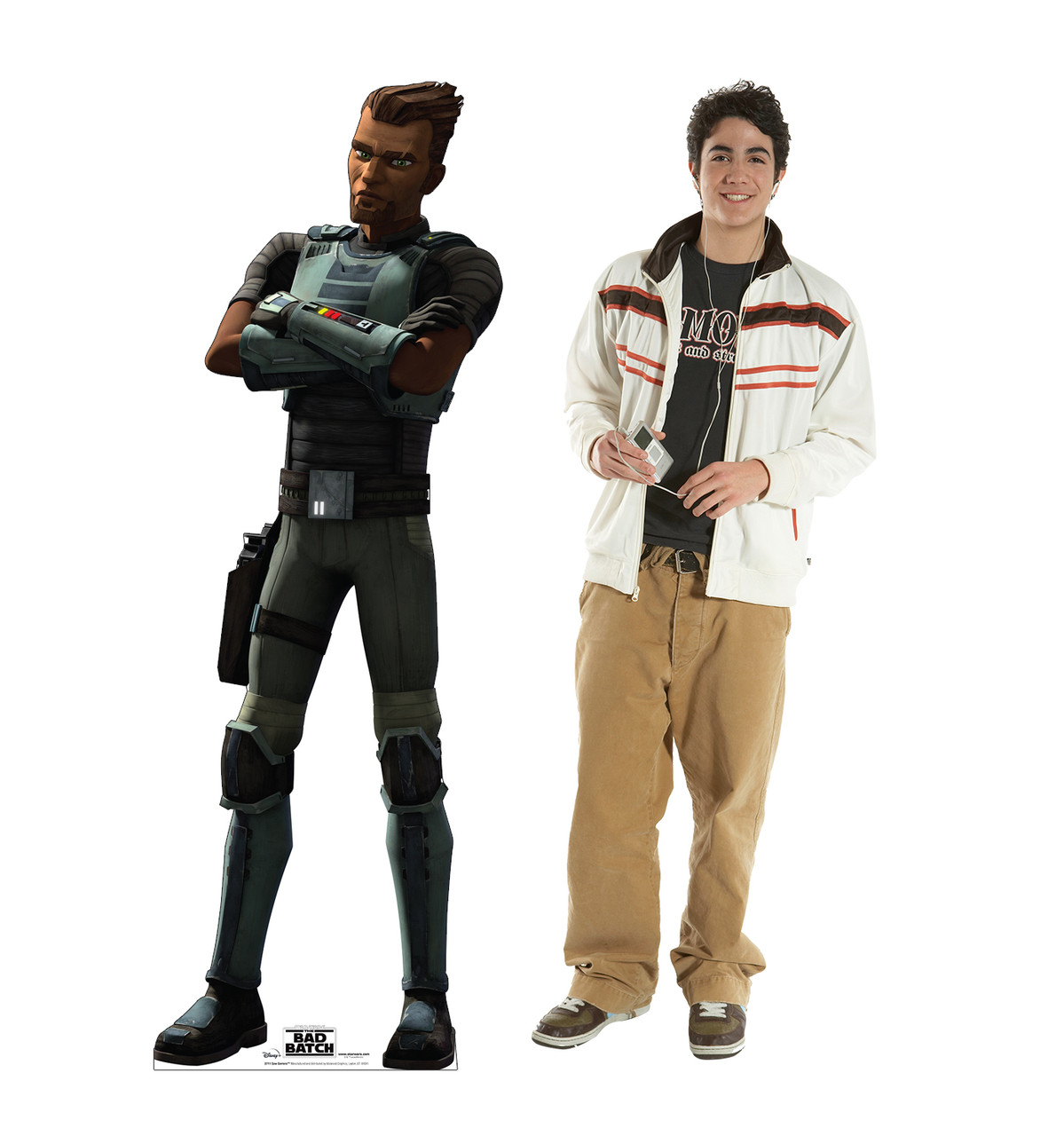 Life-size cardboard standee of Saw Gerrera from The Bad Batch on Disney+ with model.