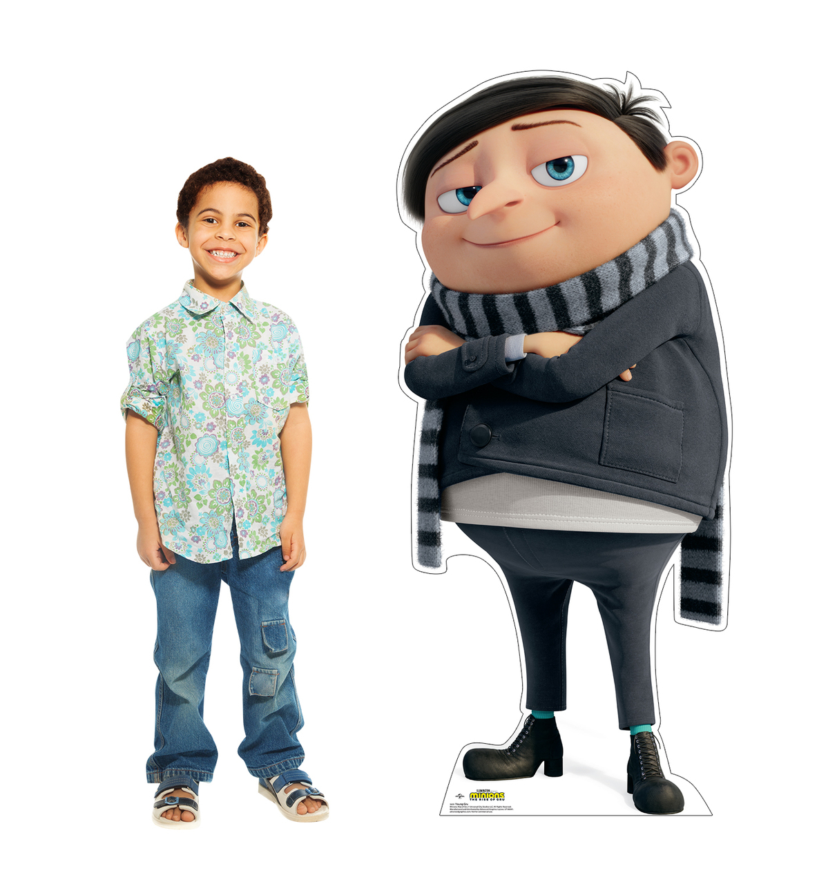 Life-size cardboard standee of Young Gru from the new movie Minions Rise of Gru with model.