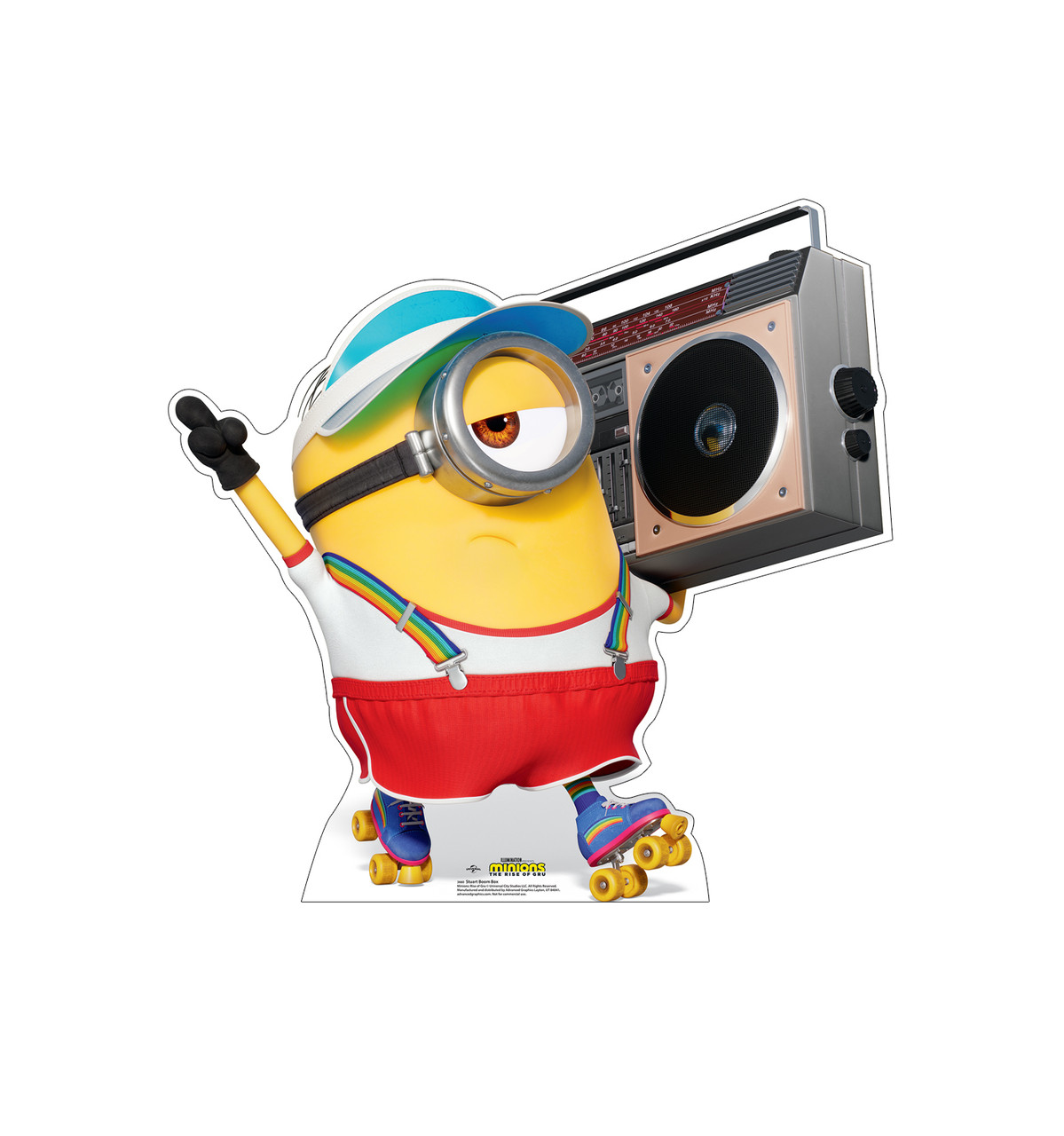 Life-size cardboard standee of Stuart Boom Box from the new movie Minions Rise of Gru.