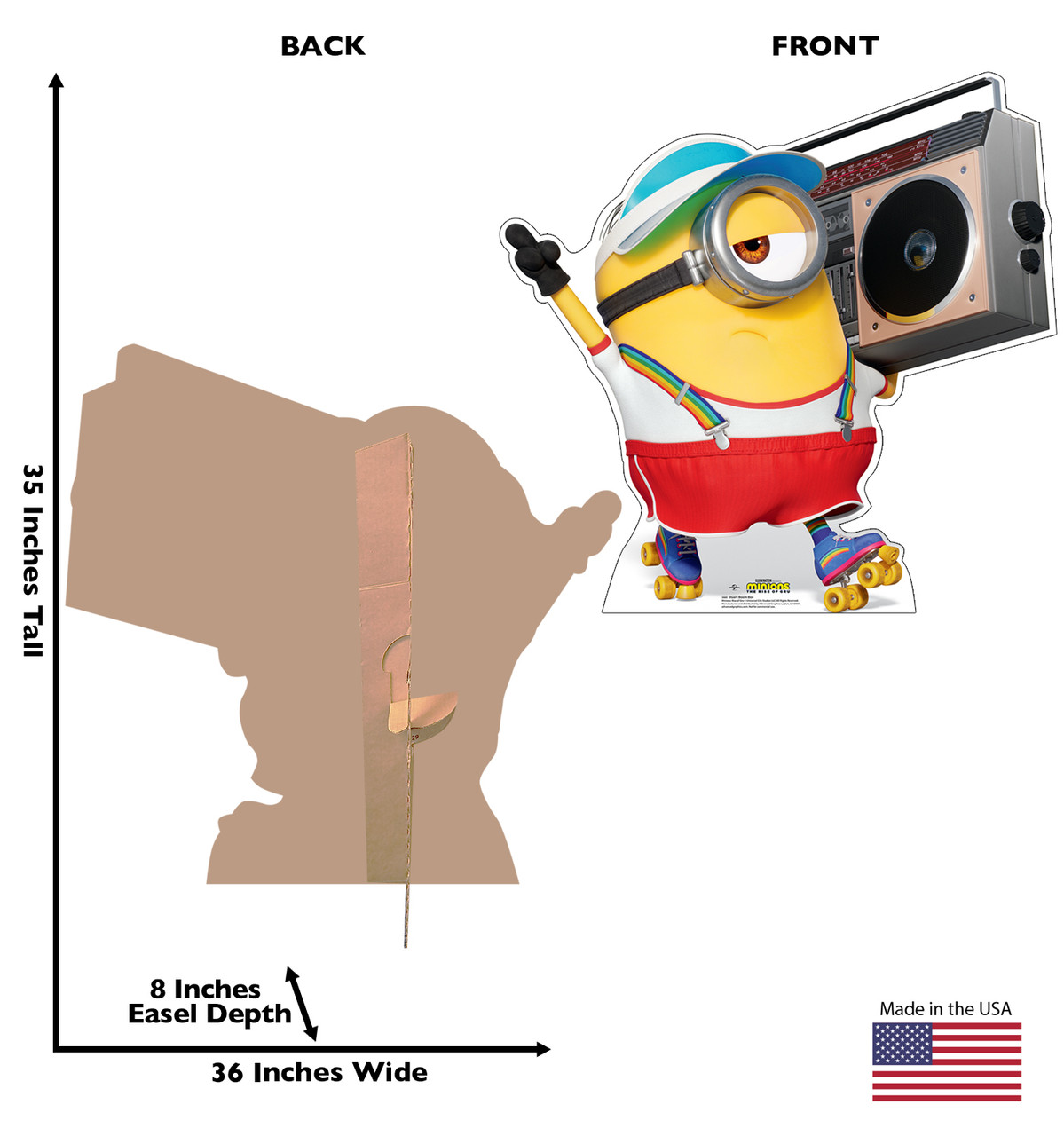 Life-size cardboard standee of Stuart Boom Box from the new movie Minions Rise of Gru with back and front dimensions.