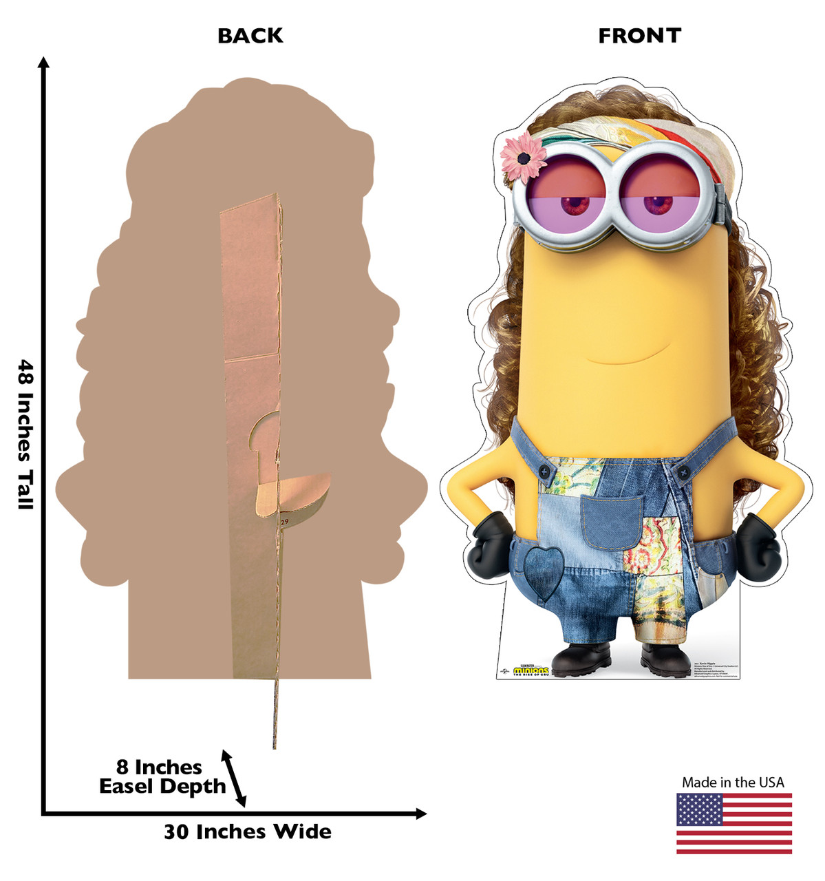 Life-size cardboard standee of Kevin Hippie from the new movie Minions Rise of Gru with back and front dimensions.