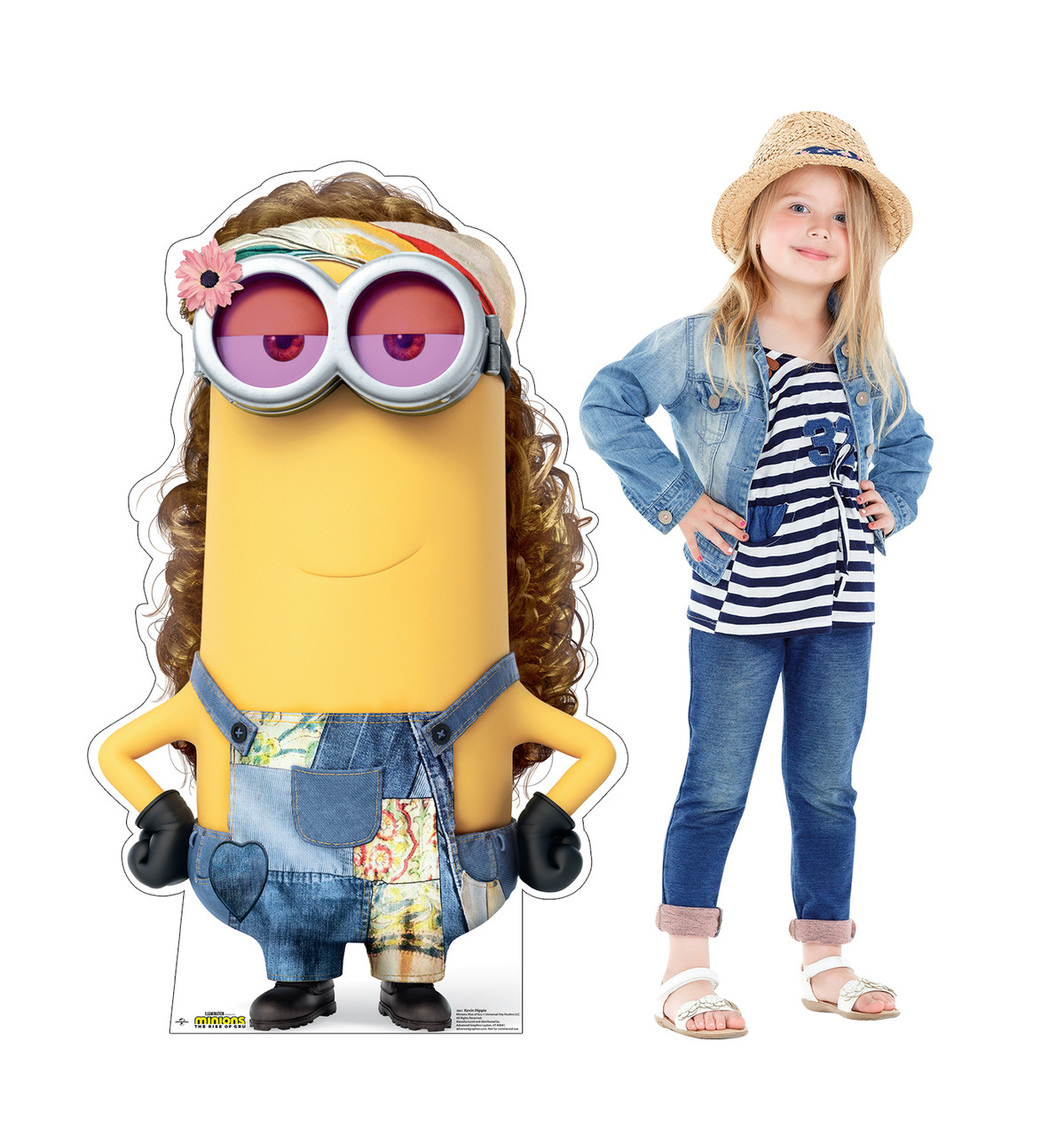 Life-size cardboard standee of Kevin Hippie from the new movie Minions Rise of Gru with model.