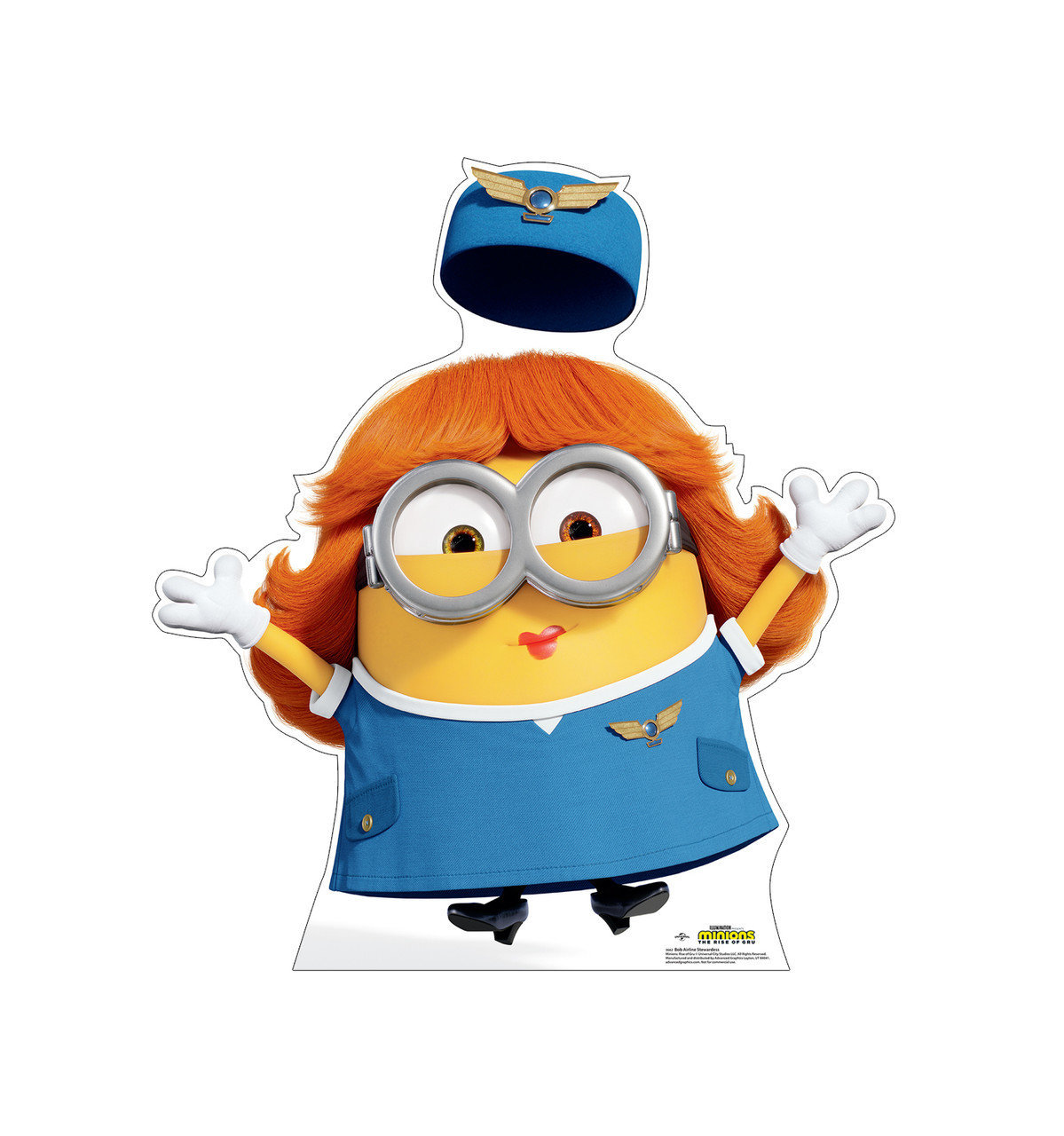 Life-size cardboard standee of Bob Airline Stewardess from the new movie Minions Rise of Gru.