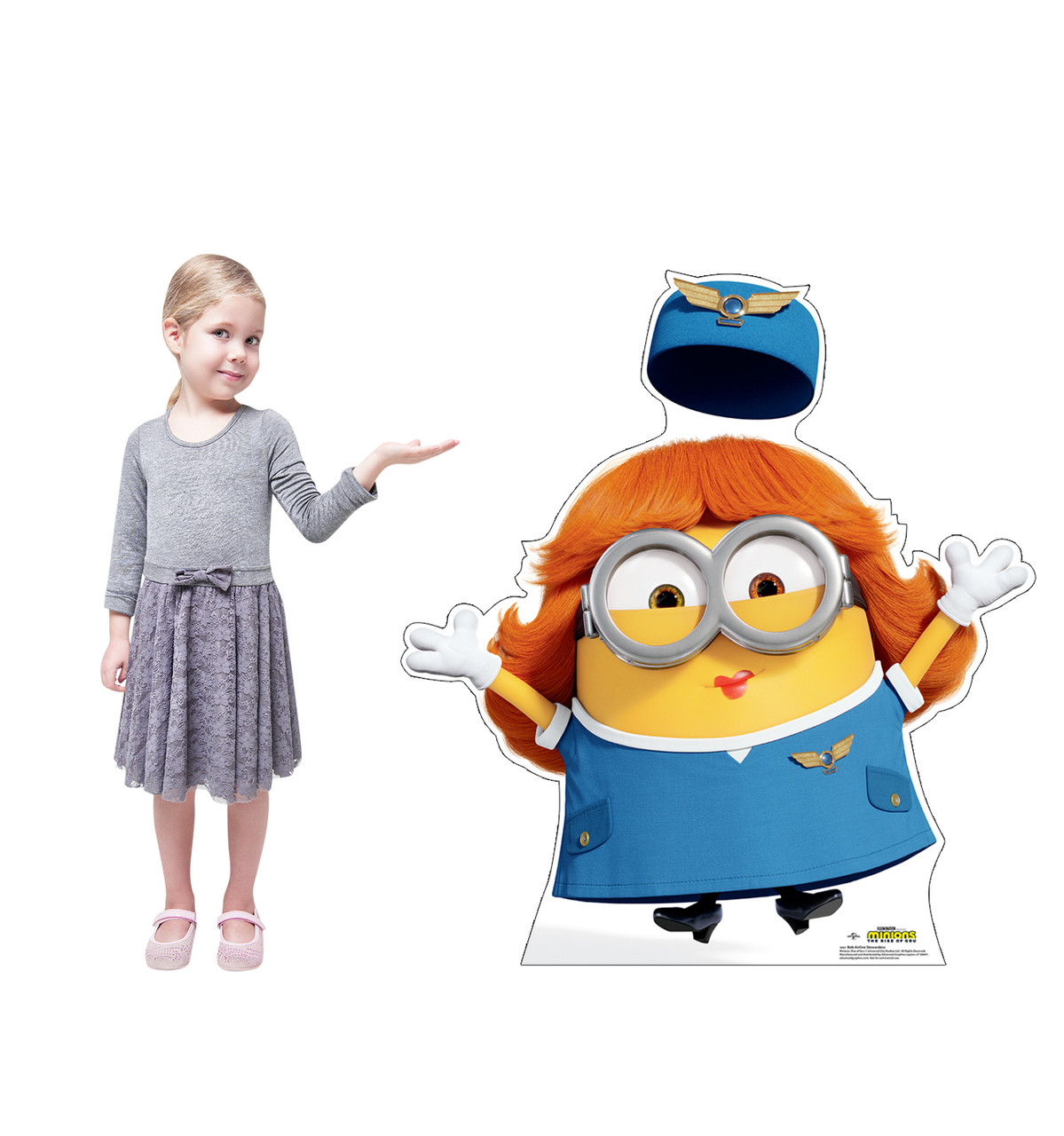 Life-size cardboard standee of Bob Airline Stewardess from the new movie Minions Rise of Gru with model.