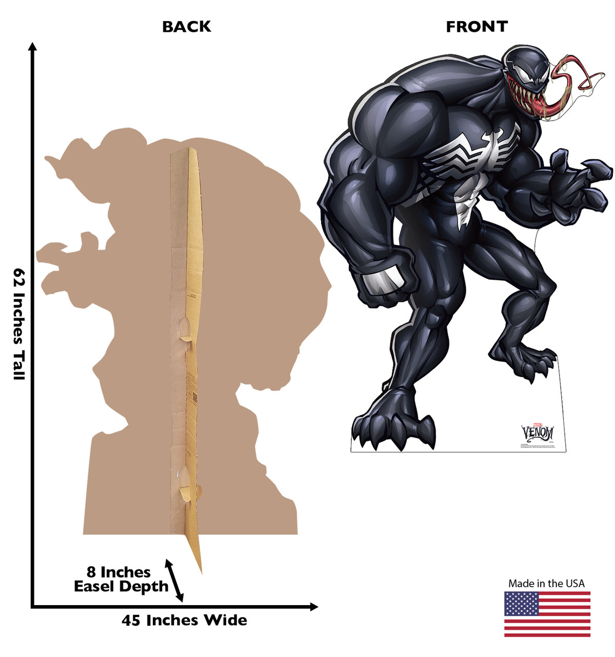 Life-size cardboard standee of Venom from Marvel Classics with back and front dimensions.