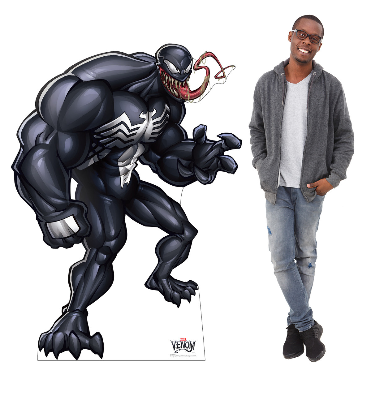 Life-size cardboard standee of Venom from Marvel Classics with model.