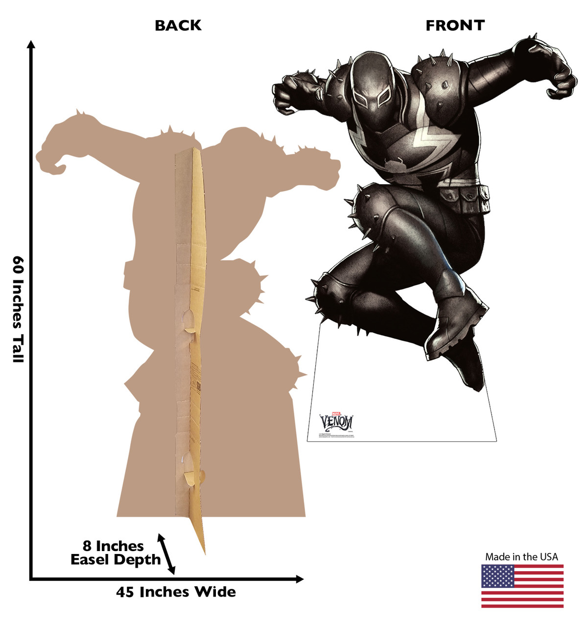 Life-size cardboard standee of Agent Venom from Marvel Classics with back and front dimensions.