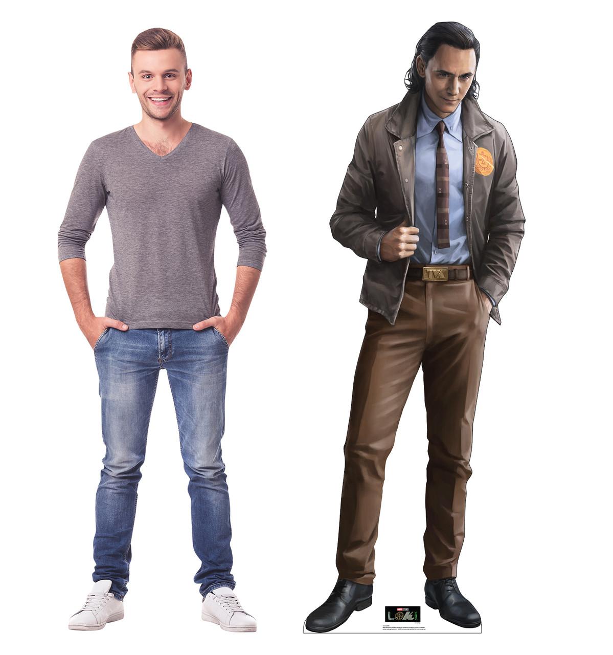 Life-size cardboard standee of Loki from Marvel/Disney+ series Loki with model.