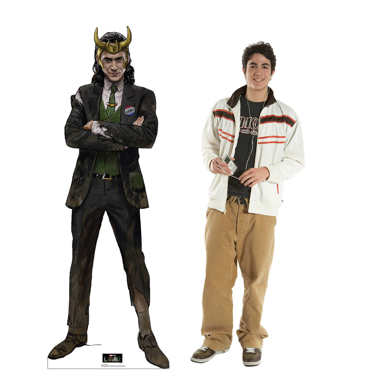 Life-size cardboard standee of Loki Horns from Marvel/Disney+ series Loki with back and front dimensions.