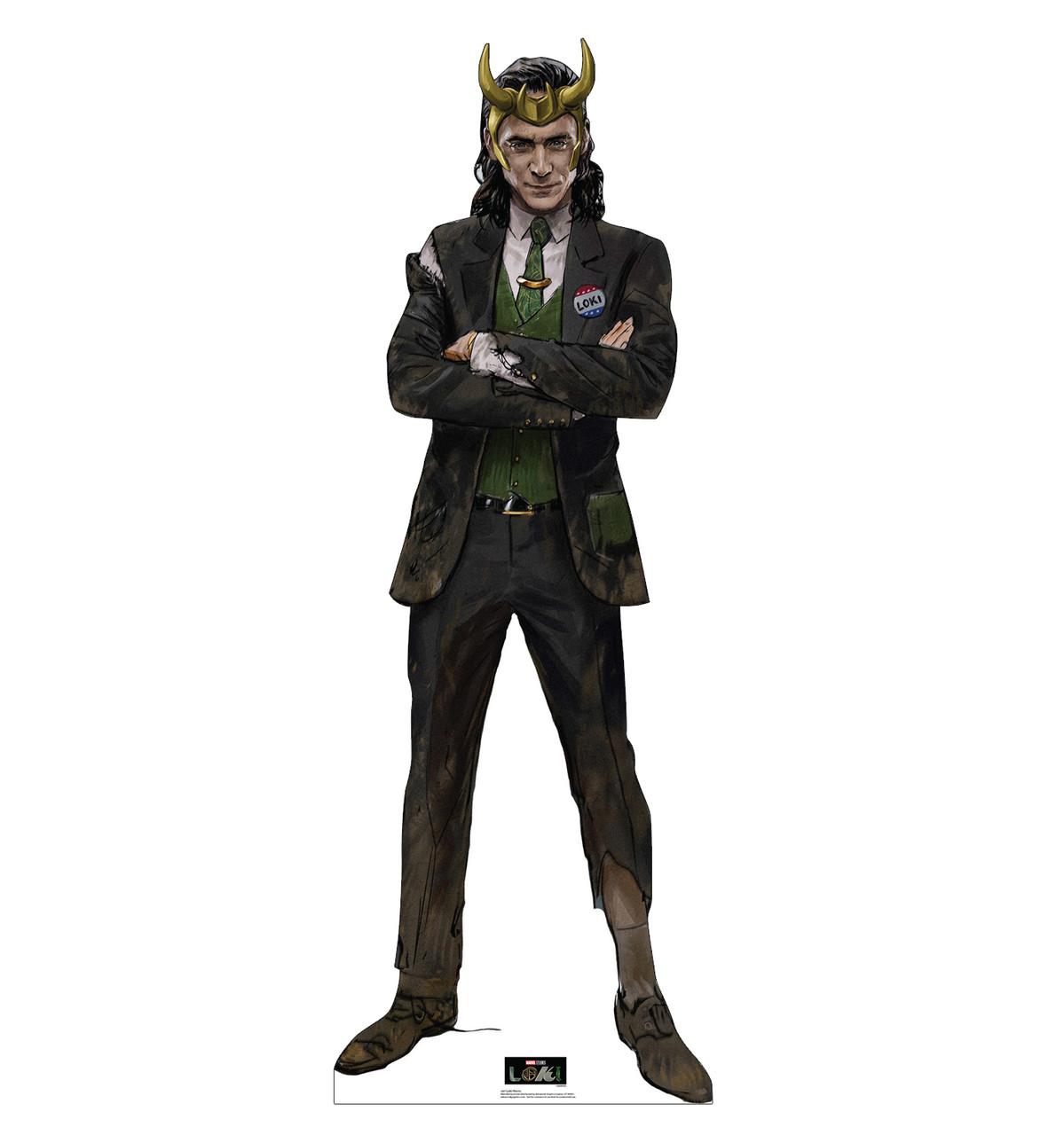 Life-size cardboard standee of Loki Horns from Marvel/Disney+ series Loki.