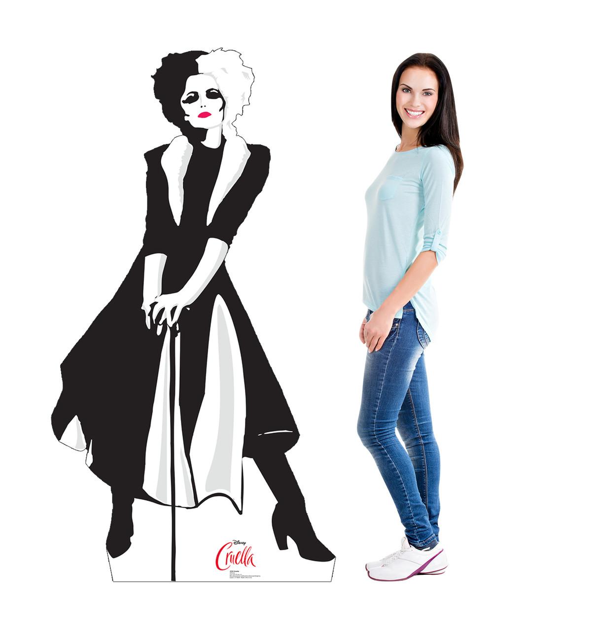 Life-size cardboard standee of Cruella from Disney+ movie Cruella with model.