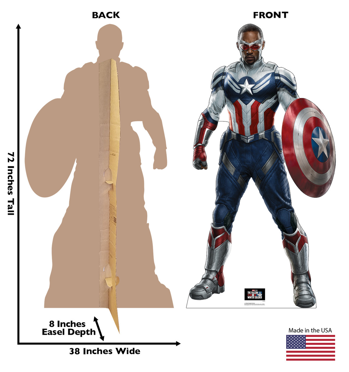 Life-size cardboard standee of Falcon Captain America with front and back dimensions.