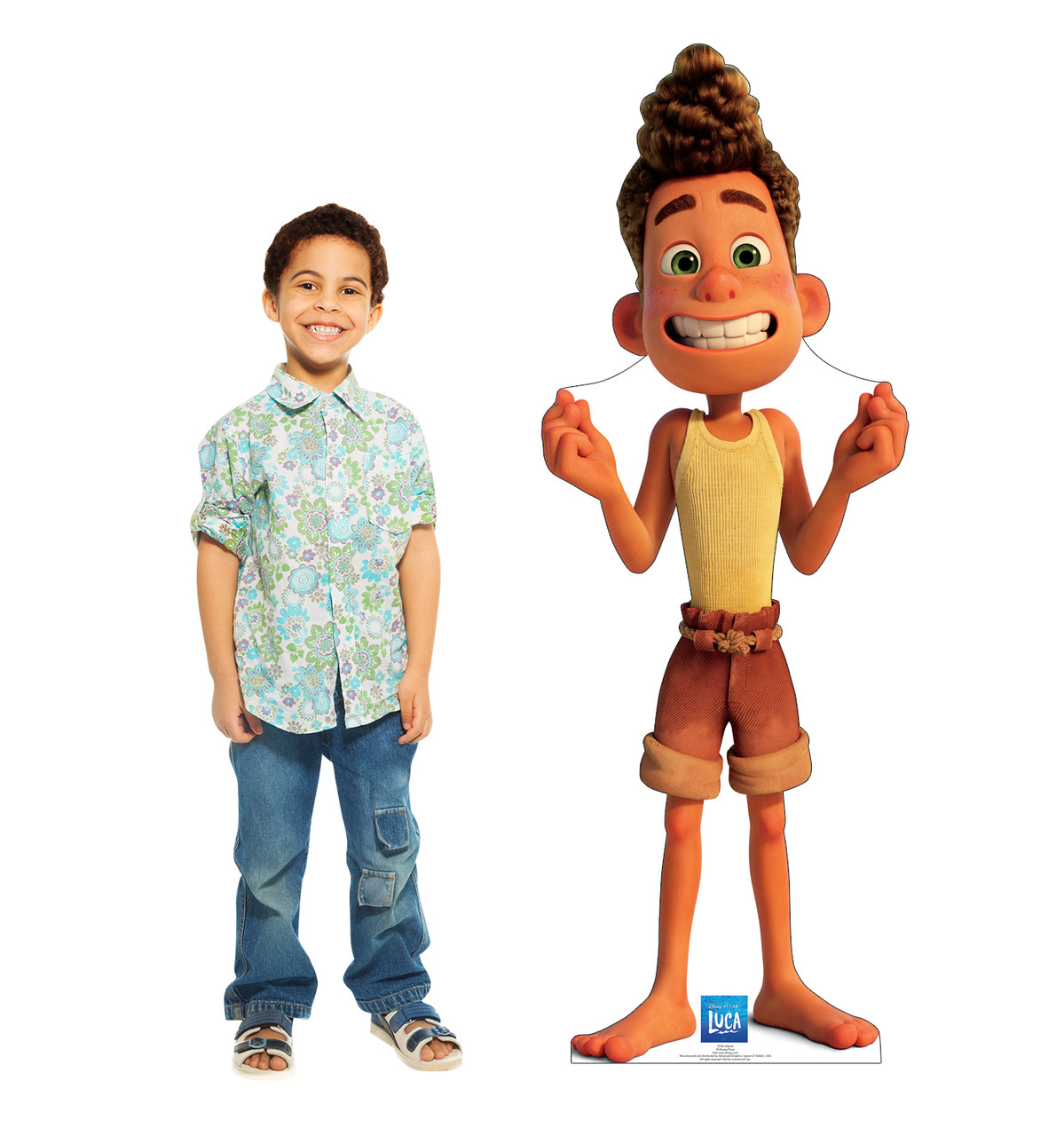 Life-size cardboard standee of Alberto with model.