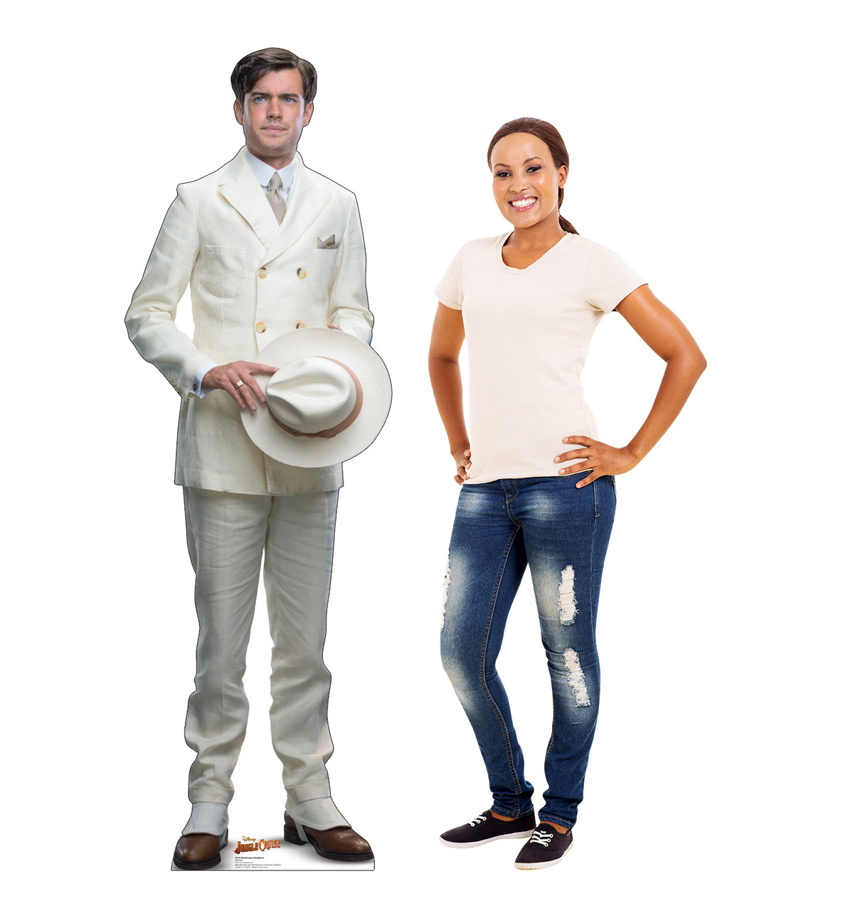Life-size cardboard standee of MacGregor Houghton from Jungle Cruise with model.