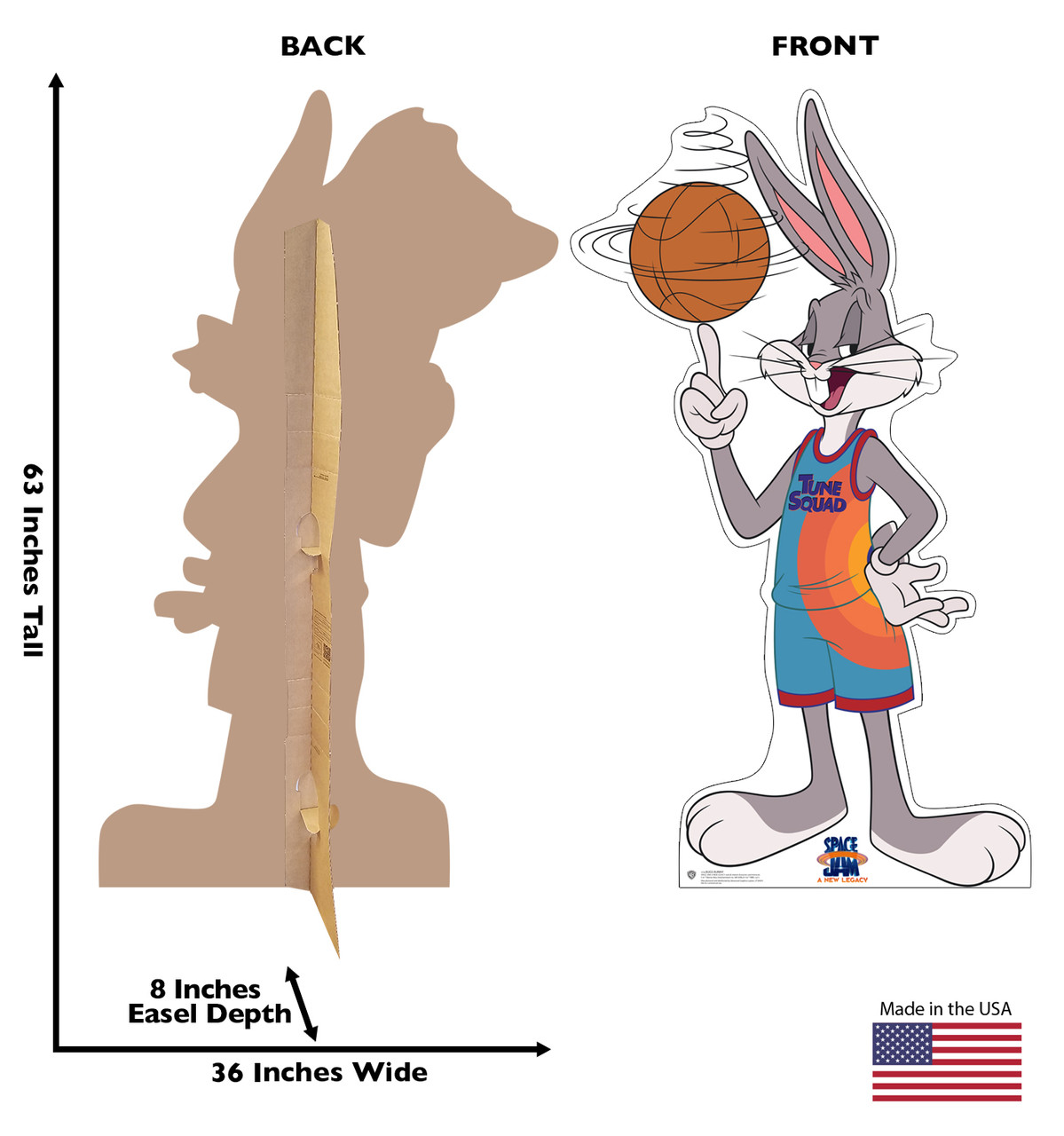 Life-size cardboard standee of Bugs Bunny from Space Jam A New Legacy with front and back dimensions.