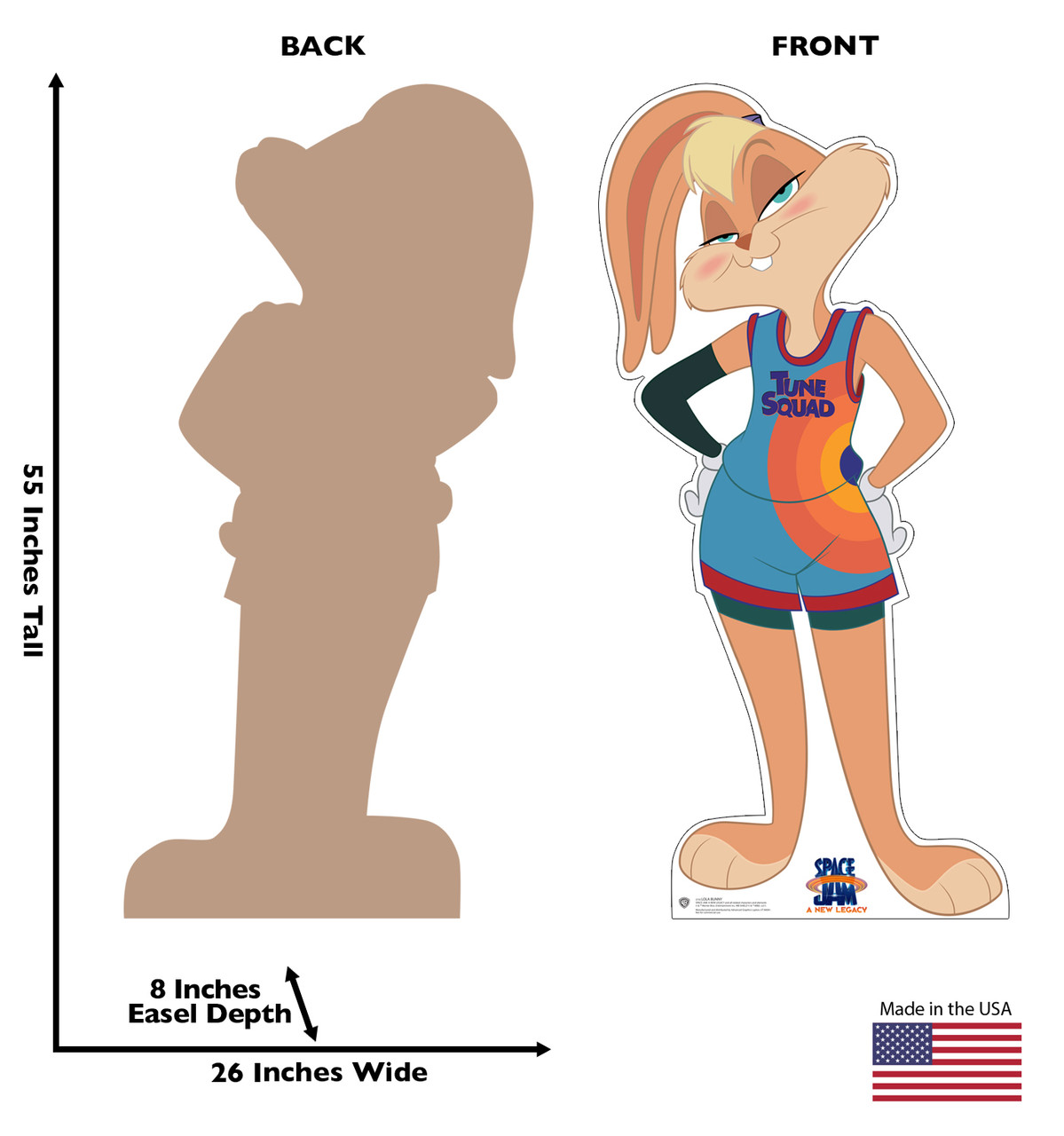 Life-size cardboard standee of Lola Bunny from Space Jam A New Legacy with front and back dimensions.