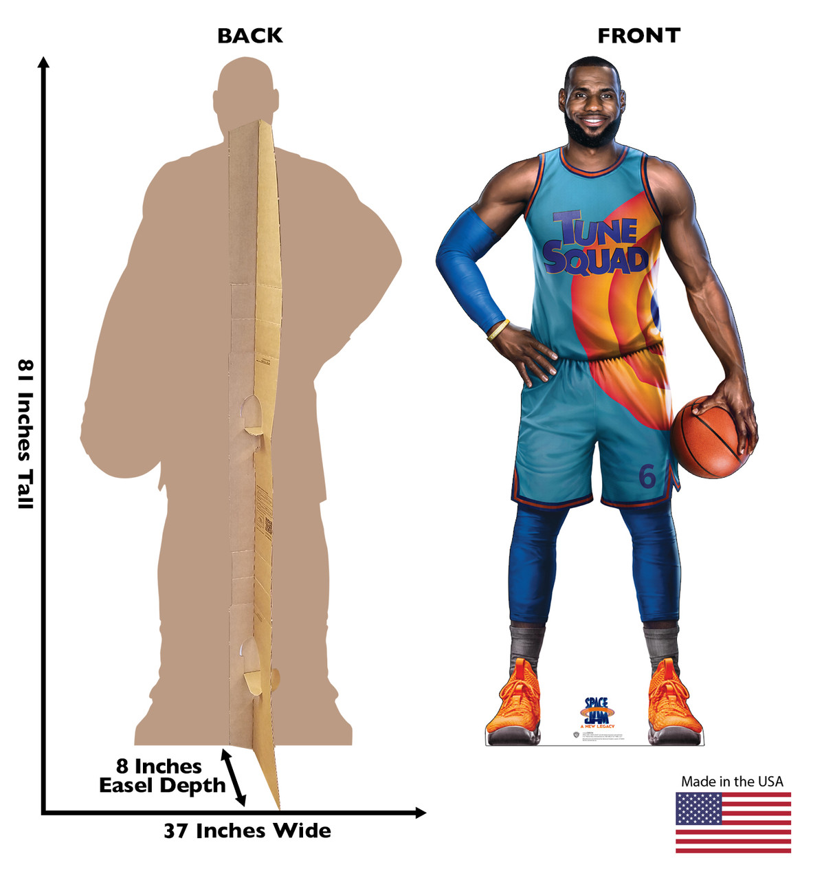 Life-size cardboard standee of Lebron from Space Jam A New Legacy with front and back dimensions.