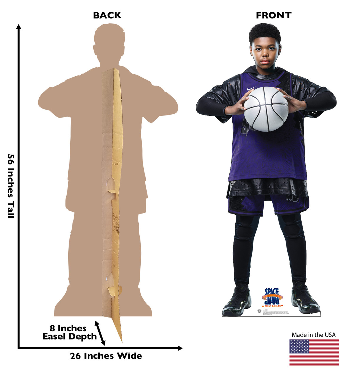 Life-size cardboard standee of Dom from Space Jam A New Legacy with front and back dimensions.