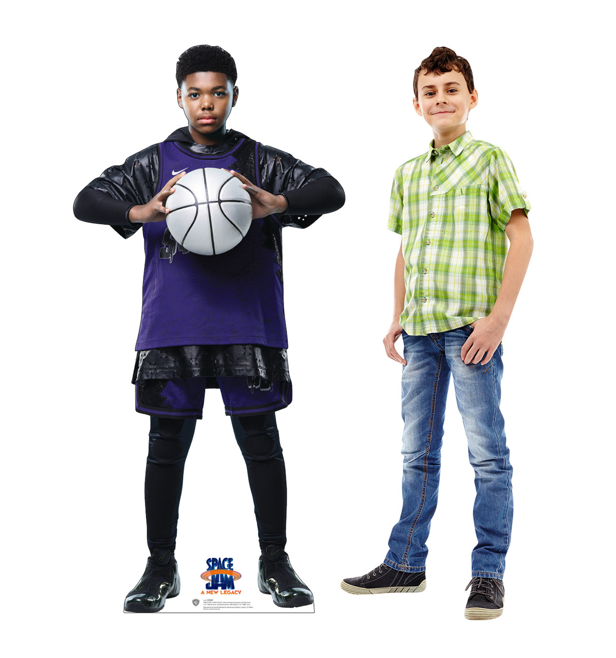 Life-size cardboard standee of Dom from Space Jam A New Legacy with model.