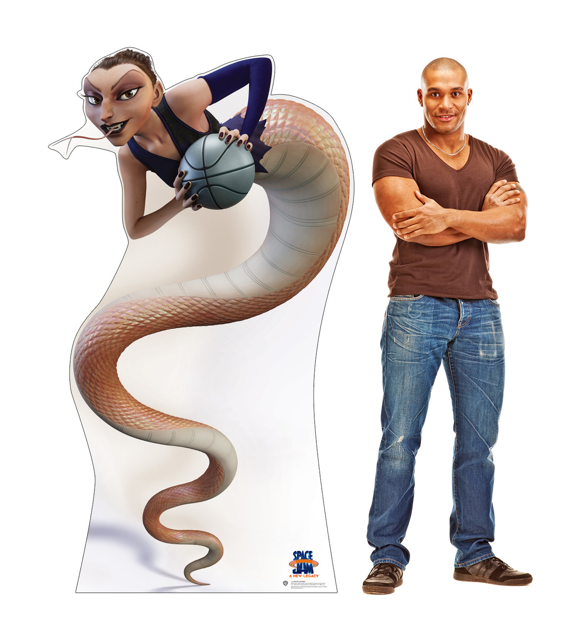 Life-size cardboard standee of White Mamba from Space Jam A New Legacy with model.