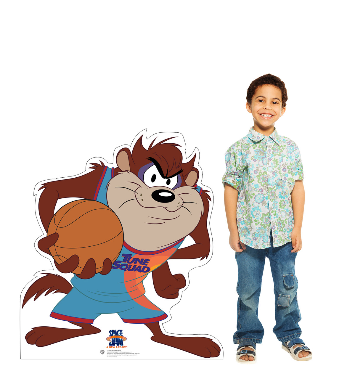 Life-size cardboard standee of Tasmanian Devil from Space Jam A New Legacy with model.