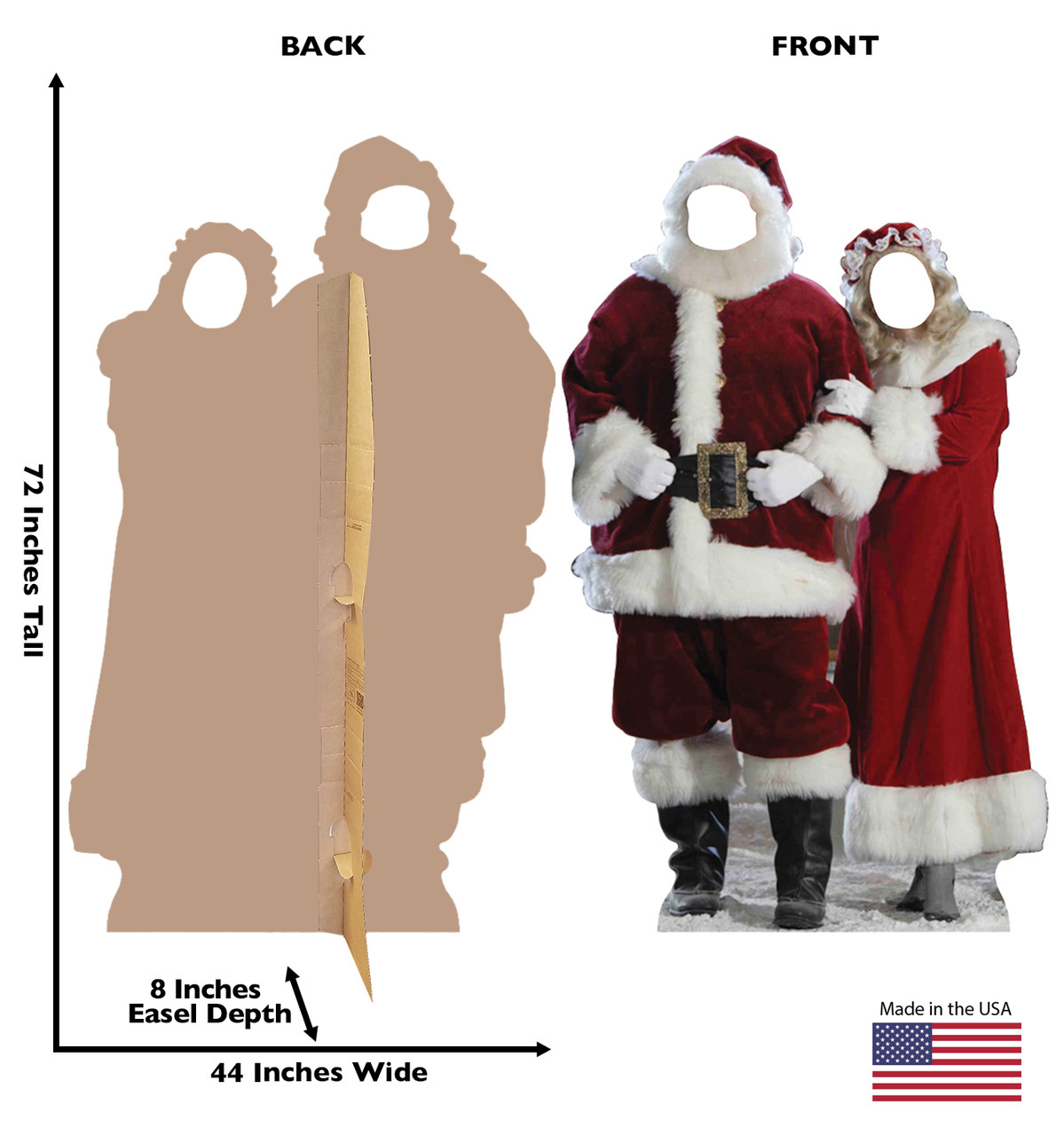 Santa and Mrs. Claus Cardboard Cutout Stand in front and back