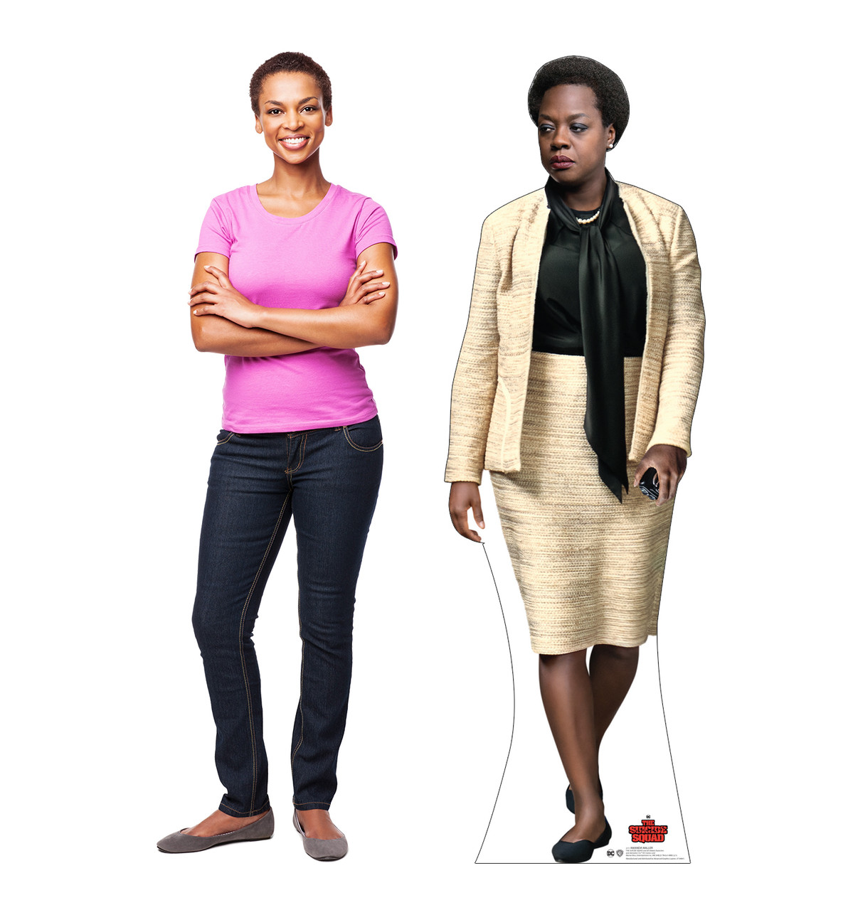 Life-size cardboard standee of Amanda Waller from Suicide Squad 2 with model.