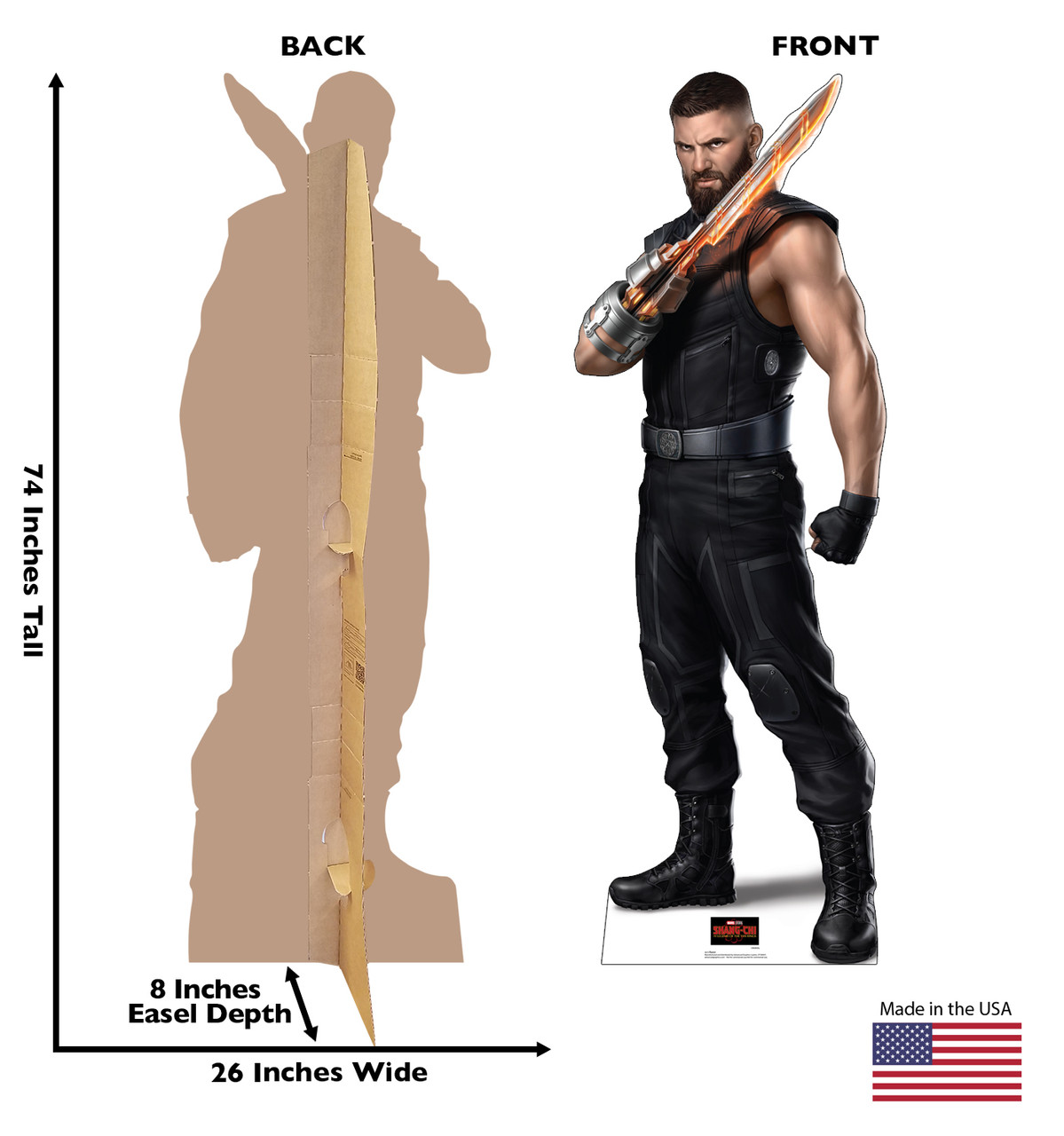 Life-size cardboard standee of Razor from Shang-Chi and the Legends of the Ten Rings from Marvel Studios with front and back dimensions.