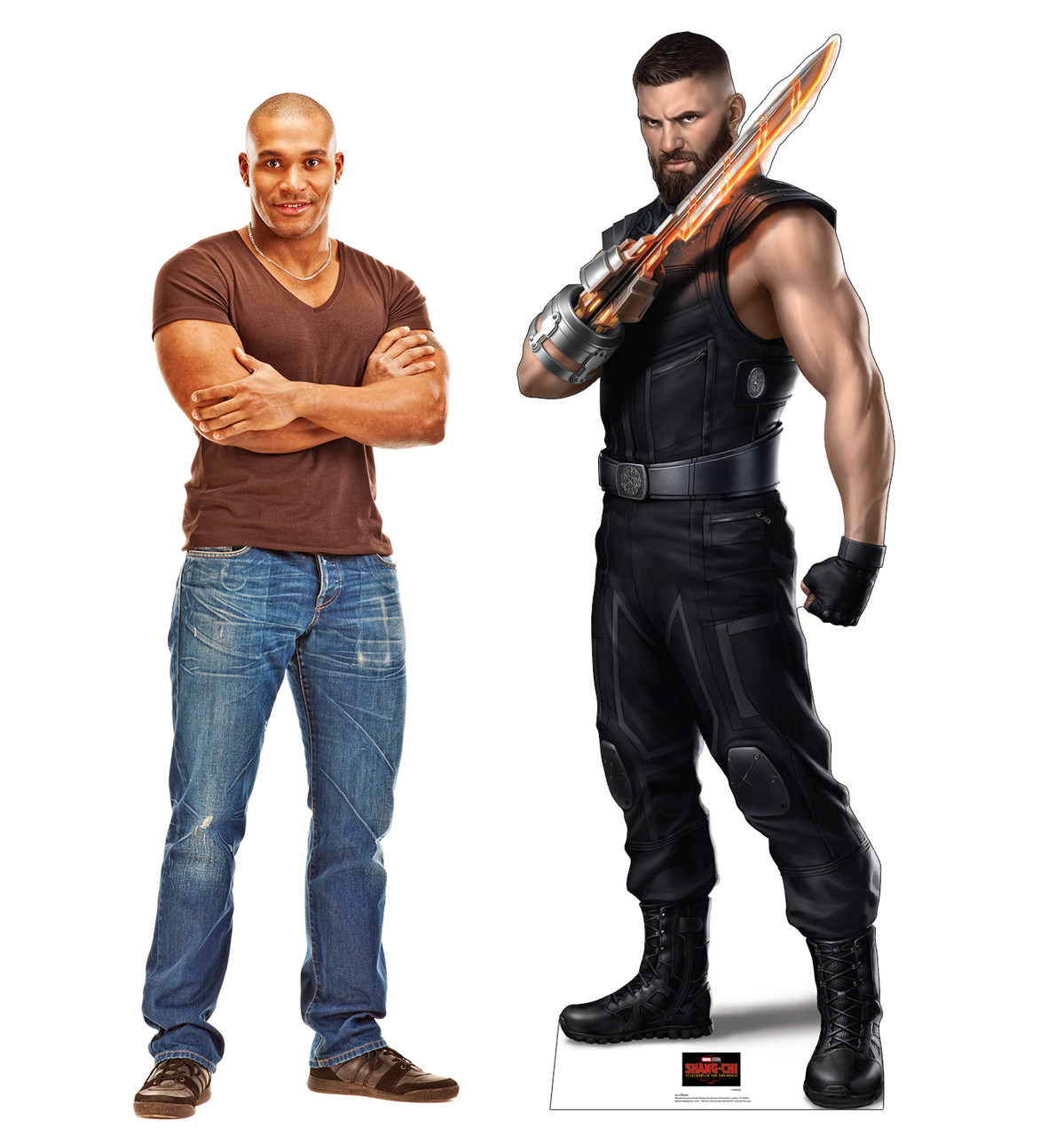 Life-size cardboard standee of Razor from Shang-Chi and the Legends of the Ten Rings from Marvel Studios with model.