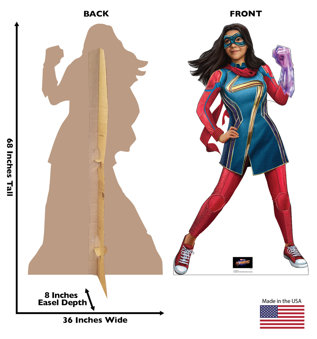 Life-size cardboard standee of Ms. Marvel from Marvel Studios Ms. Marvel on Disney + with front and back dimensions.