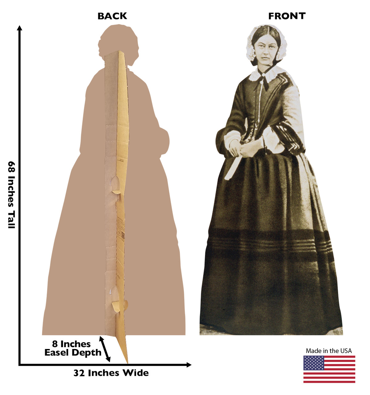 Life-size cardboard standee of Florence Nightingale with back and front dimensions.