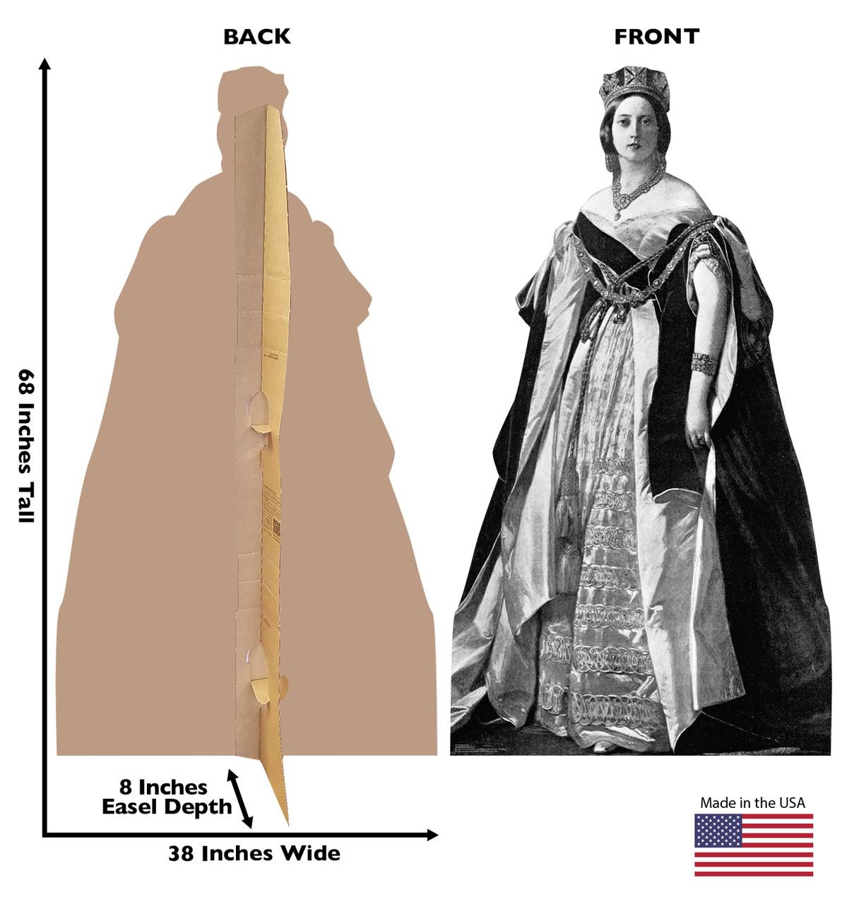 Life-size cardboard standee of Queen Victoria with back and front dimensions.