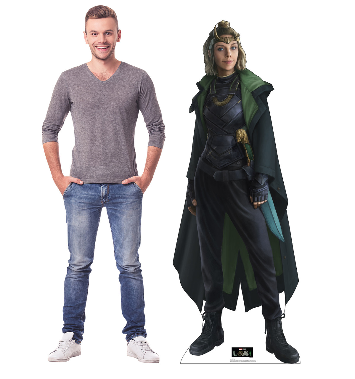 Life-size cardboard standee of Sylvie from Marvel/Disney+ series Loki with model.